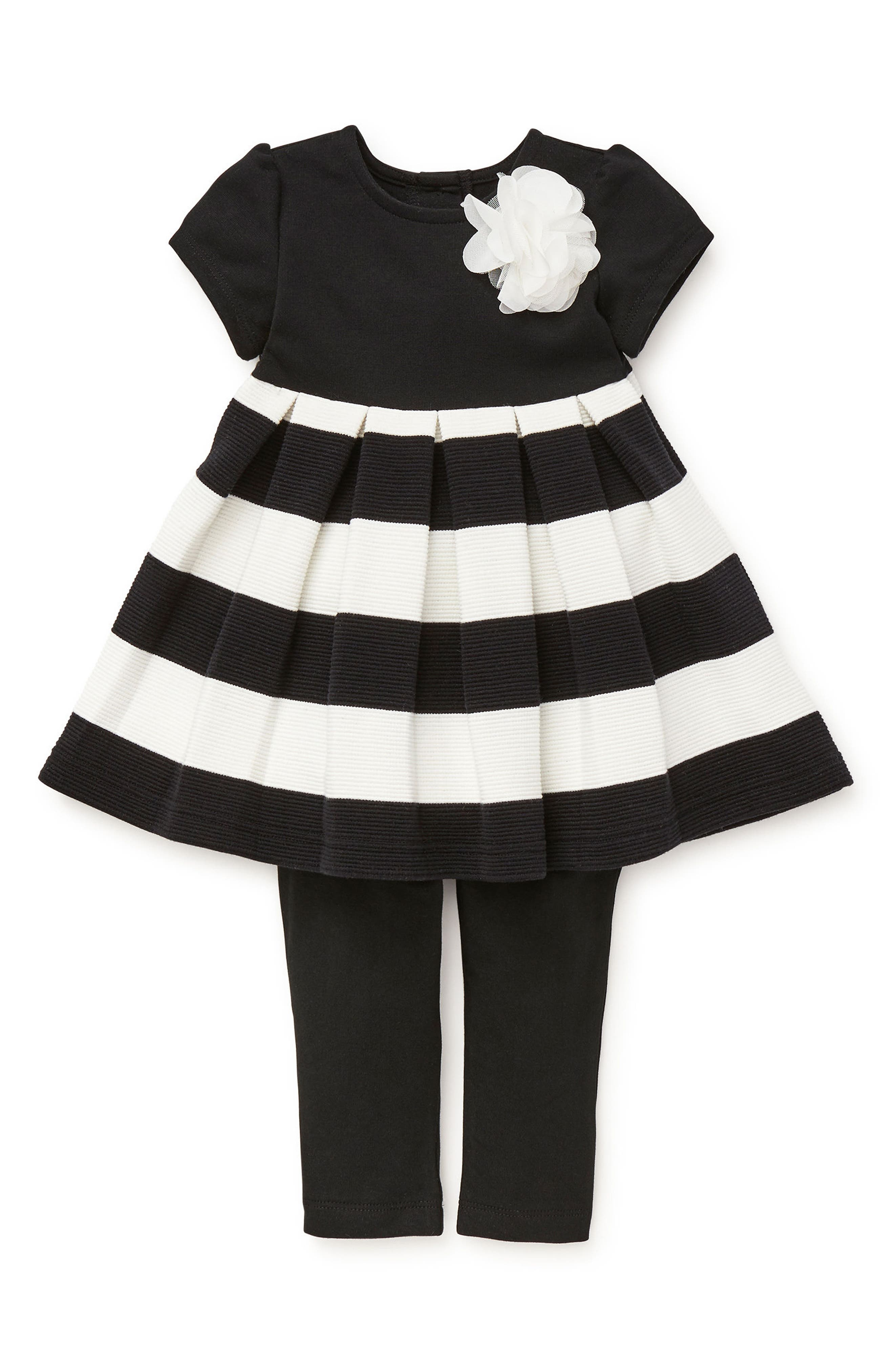 Stripe Dress & Leggings Set,                             Main thumbnail 1, color,                             001