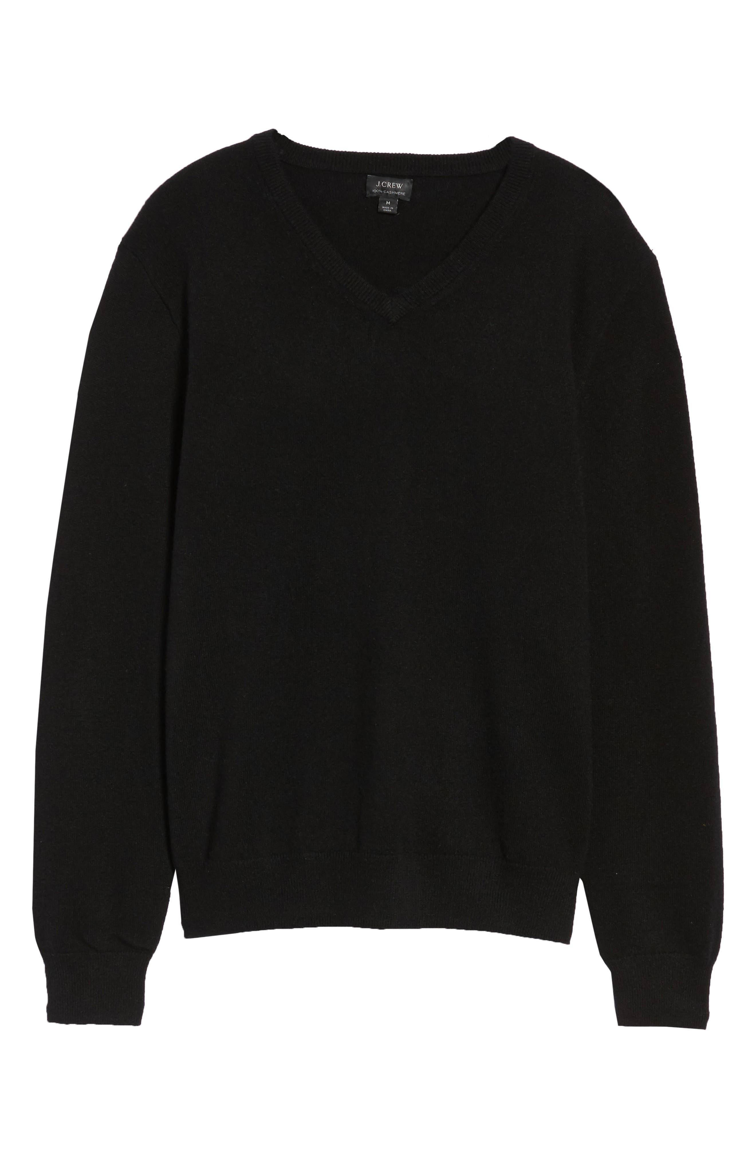 J.CREW,                             Everyday Cashmere Regular Fit V-Neck Sweater,                             Alternate thumbnail 6, color,                             001