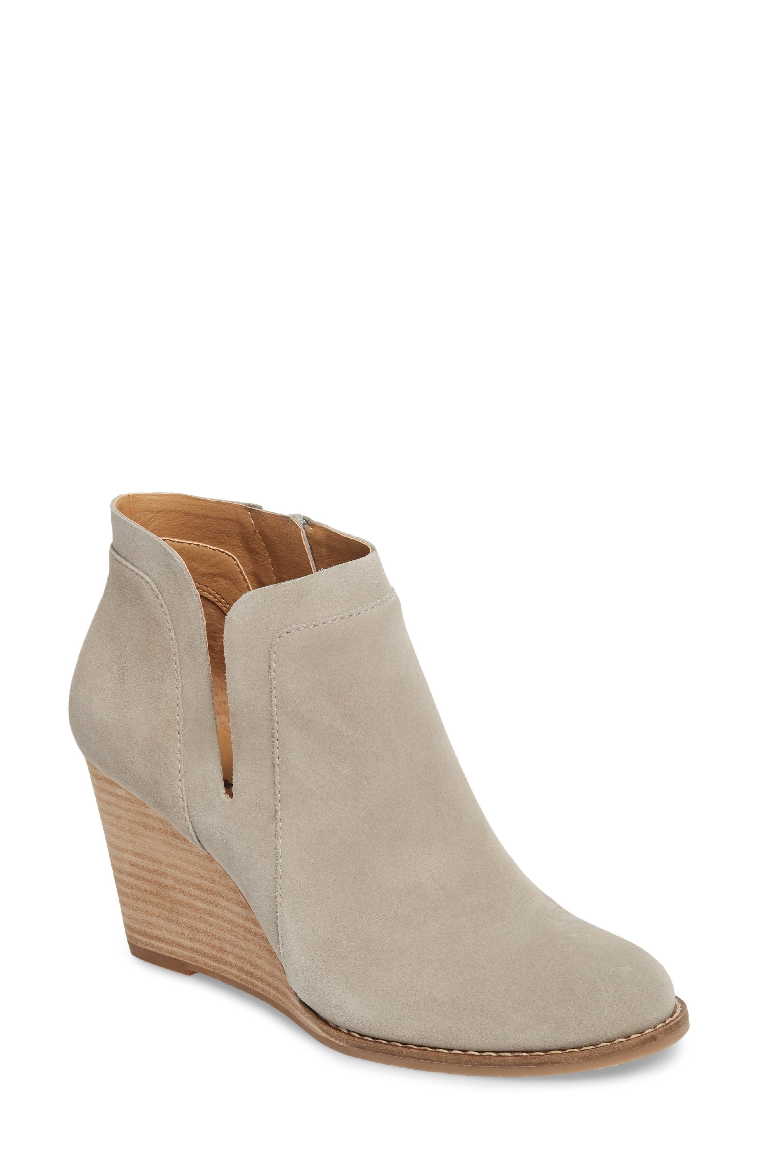 Yabba Wedge Bootie,                             Main thumbnail 1, color,                             GREY SUEDE