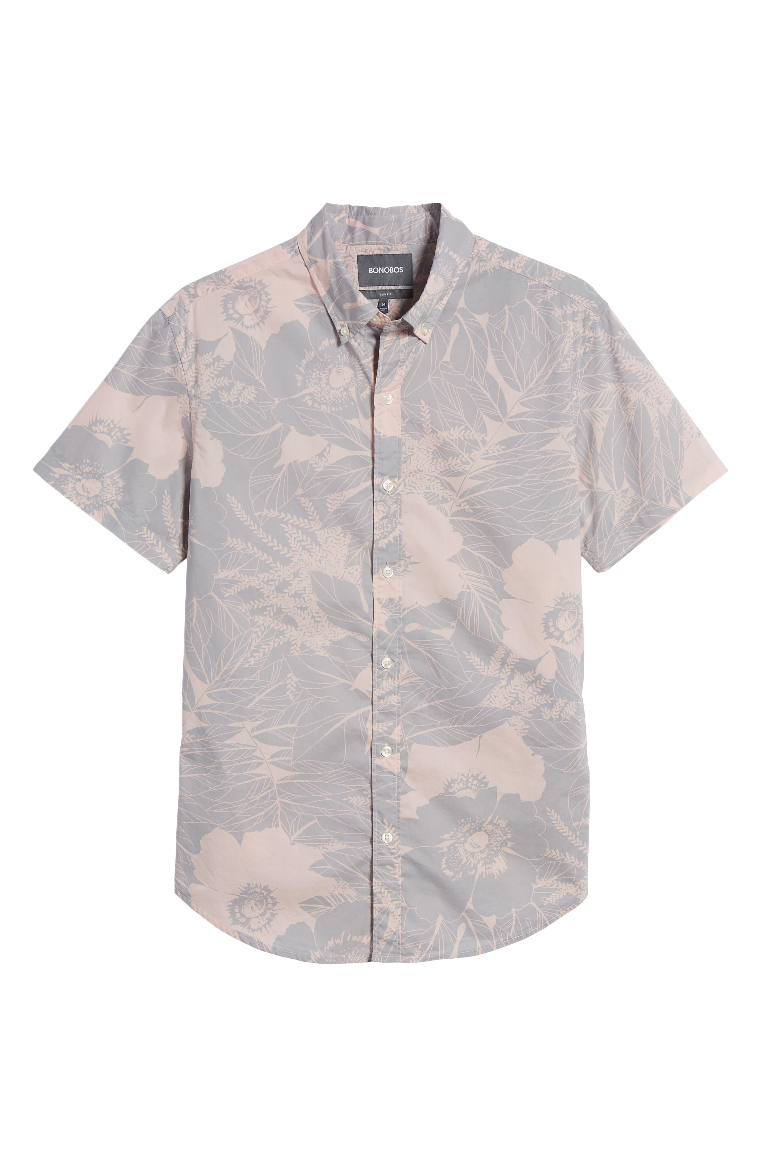 Riviera Slim Fit Floral Print Sport Shirt,                             Alternate thumbnail 6, color,                             LINEAR FLORAL - SKIVVY PINK