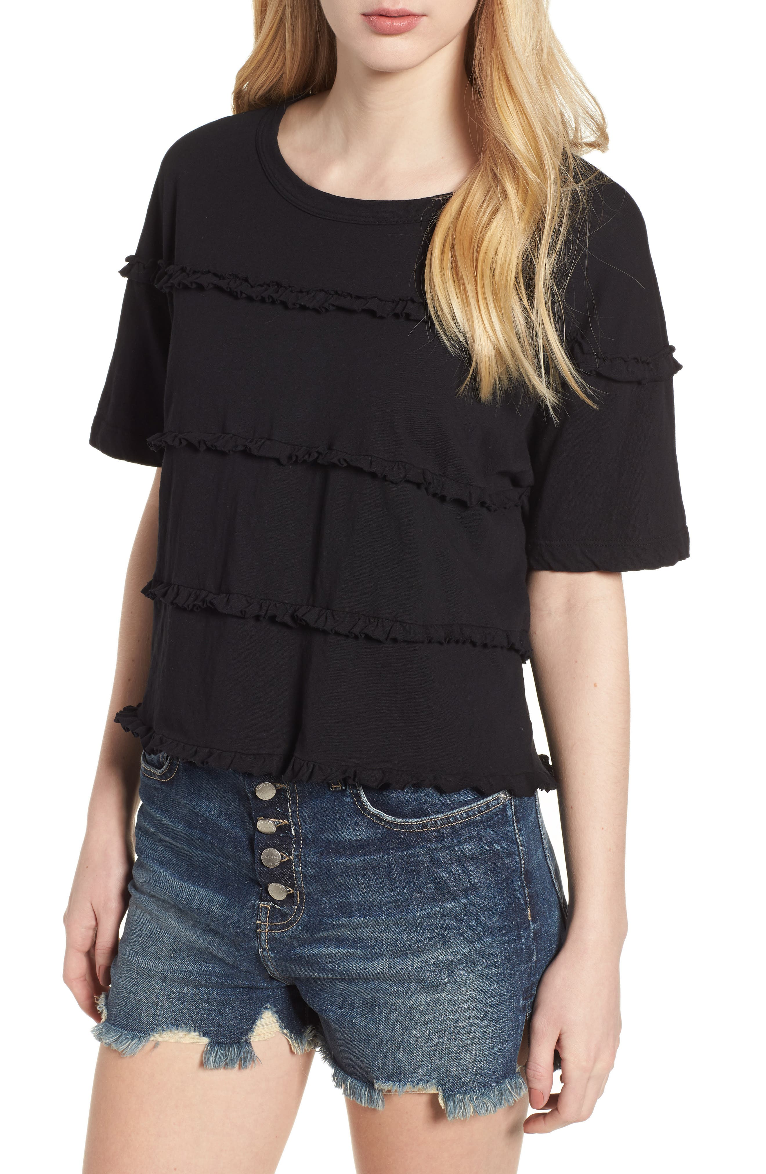The Claudia Ruffle Tee,                             Main thumbnail 1, color,                             001