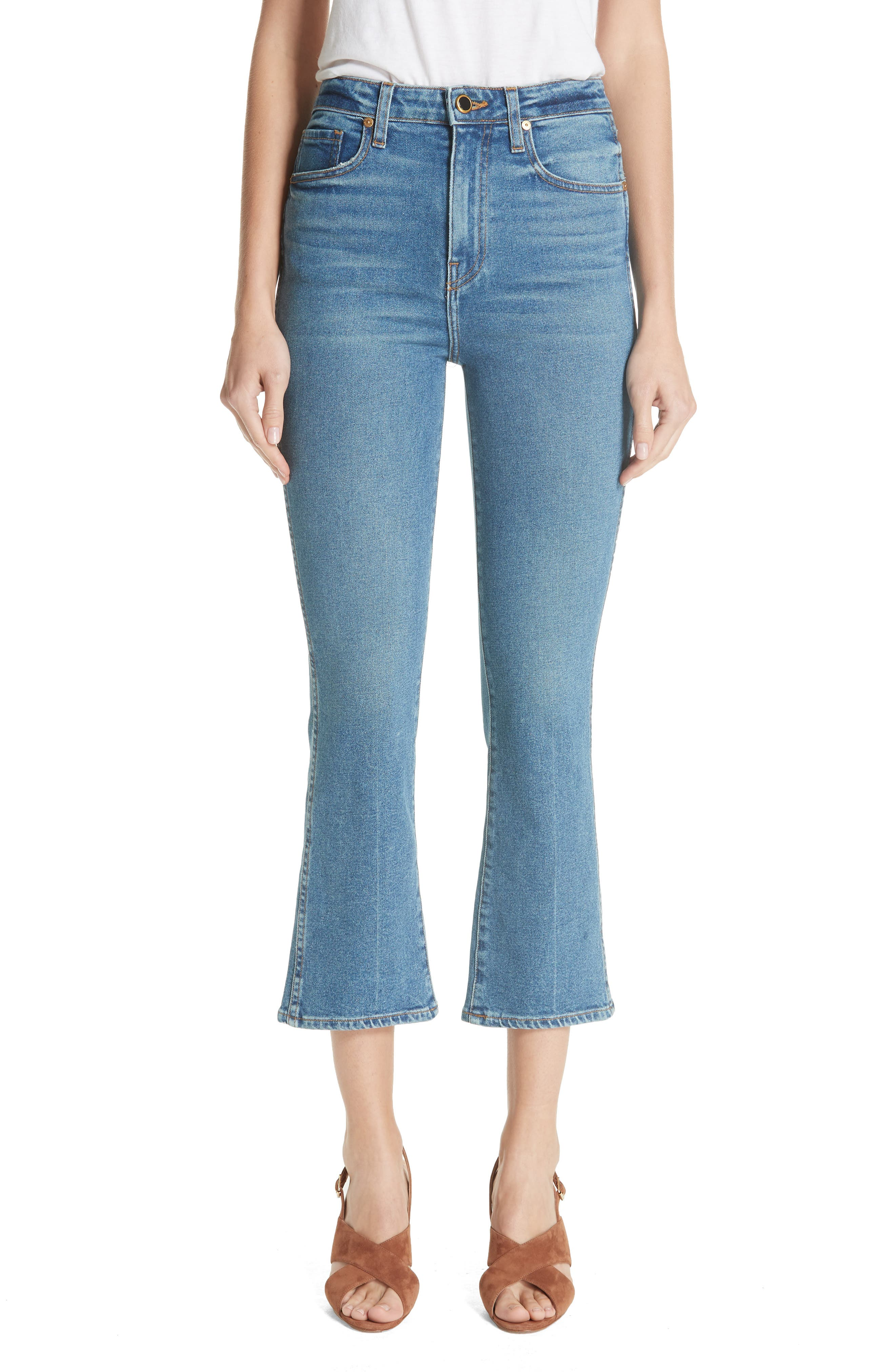 Benny Crop Flare Jeans,                             Main thumbnail 1, color,                             VINTAGE WASH