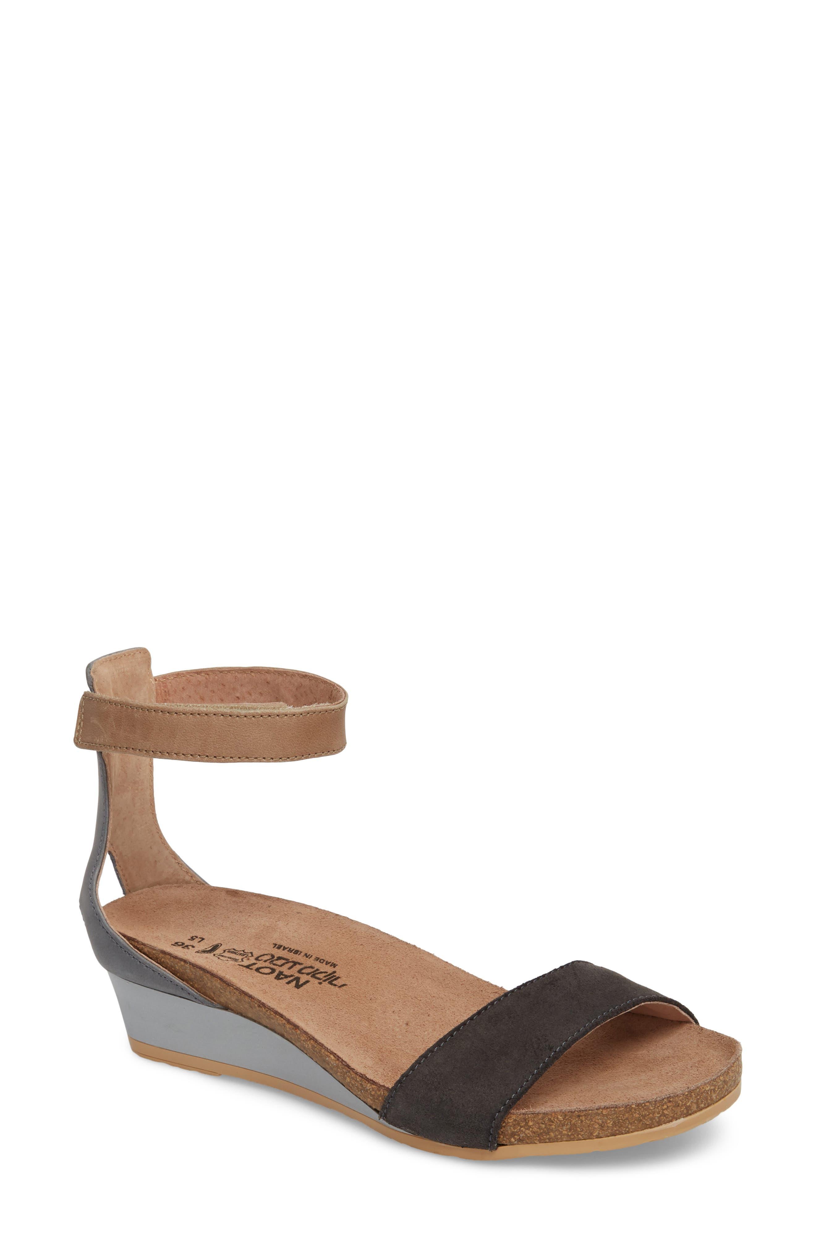 'Pixie' Sandal,                             Main thumbnail 1, color,                             BLACK SUEDE