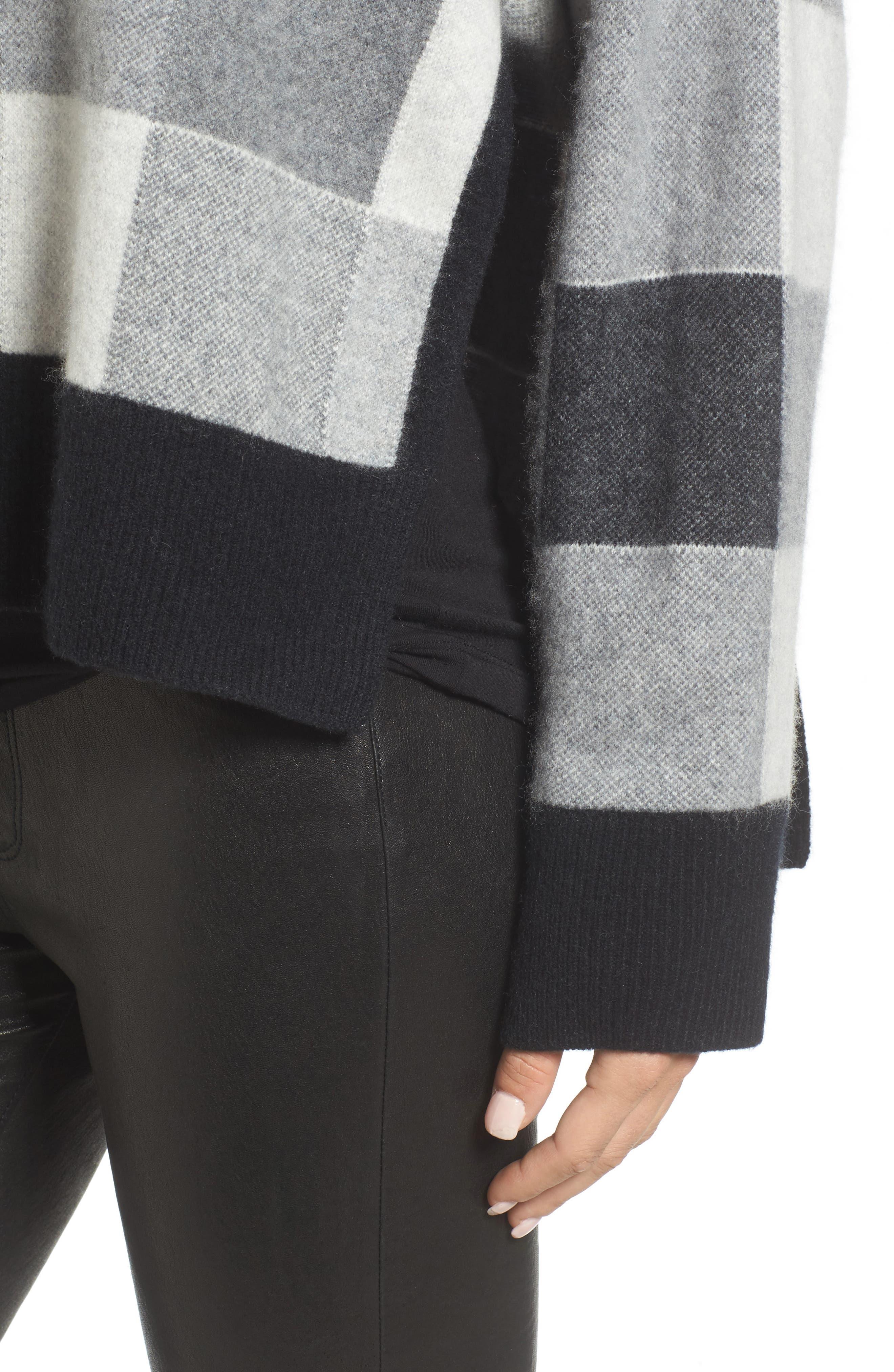 Check Plaid Cashmere Sweater,                             Alternate thumbnail 4, color,