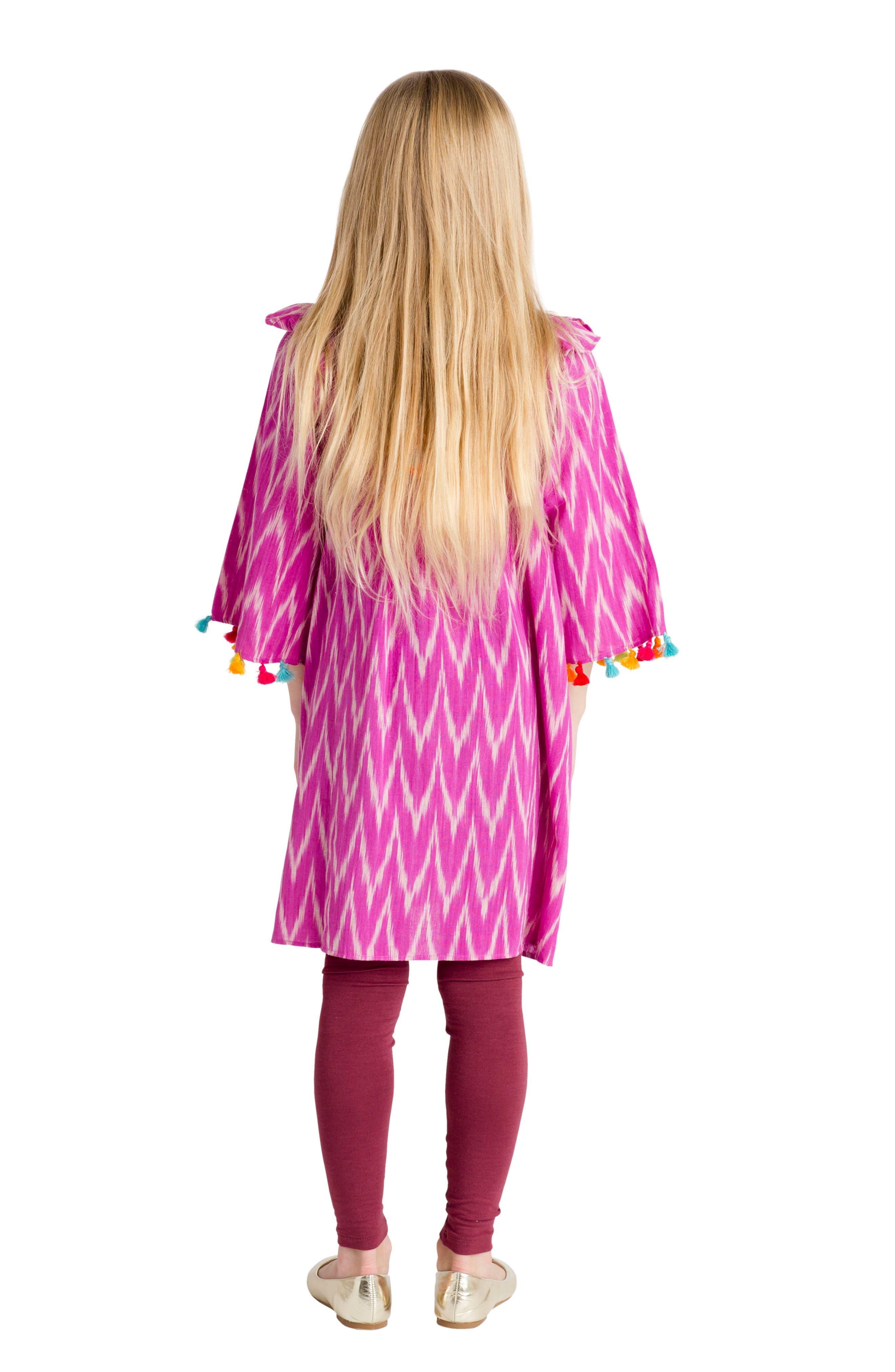 Rosy Ikat Dress,                             Alternate thumbnail 3, color,                             504