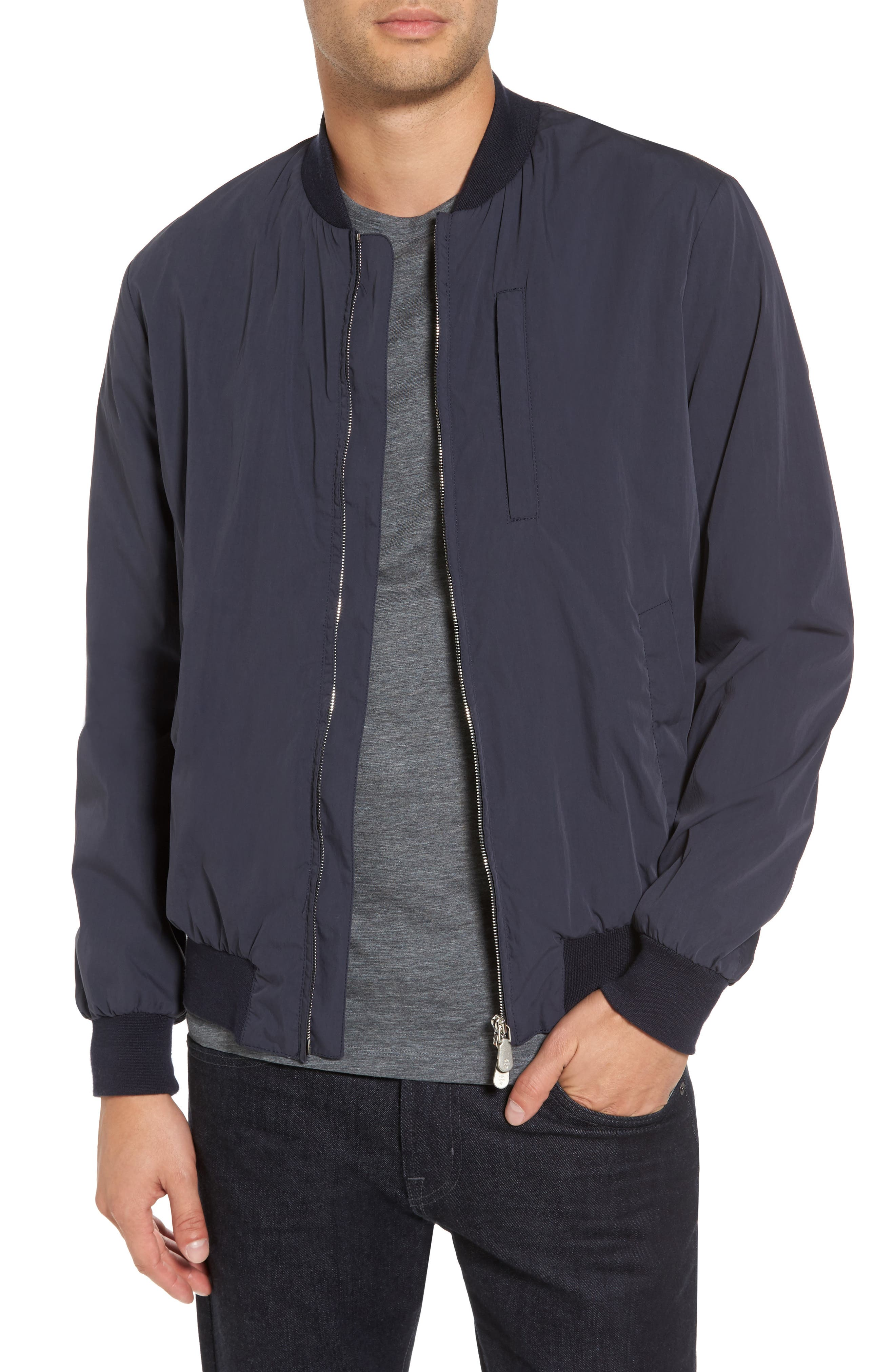 Cotton Blend Bomber Jacket,                             Main thumbnail 1, color,                             NAVY