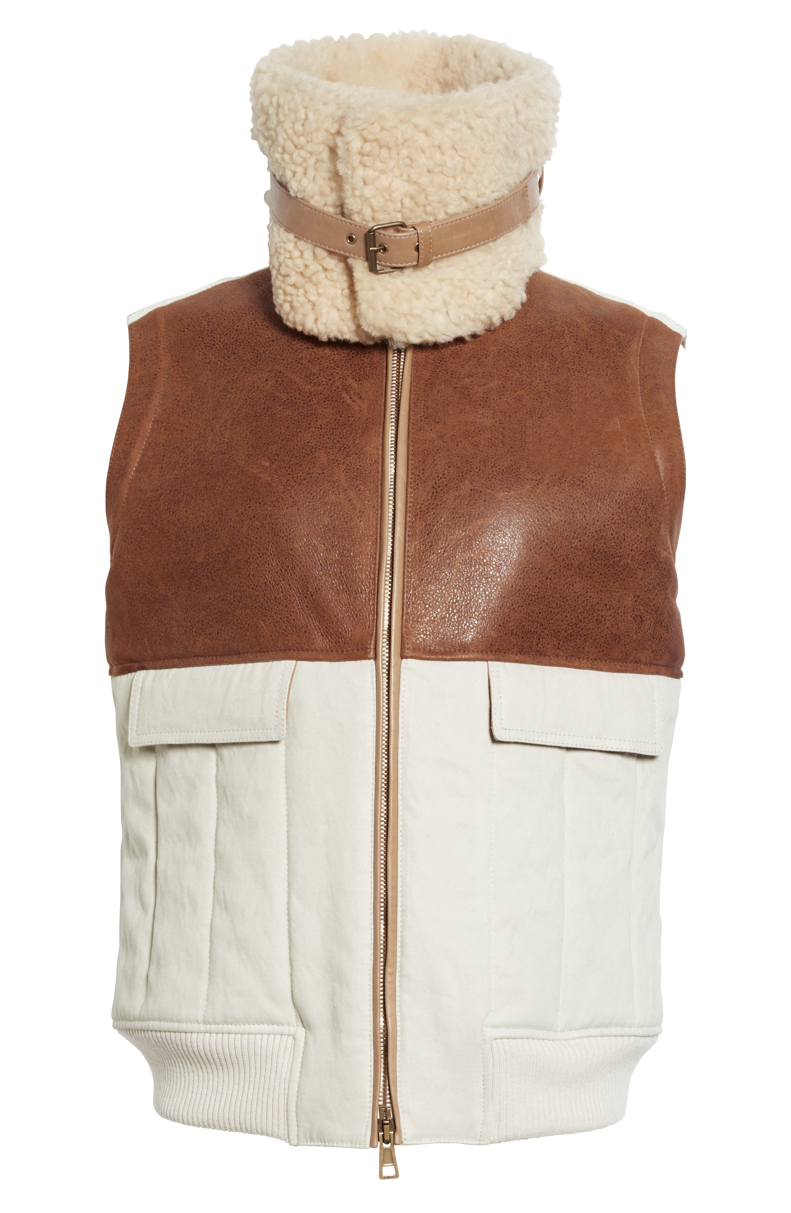 Genuine Shearling Trim Leather & Cotton Vest,                             Alternate thumbnail 5, color,                             200