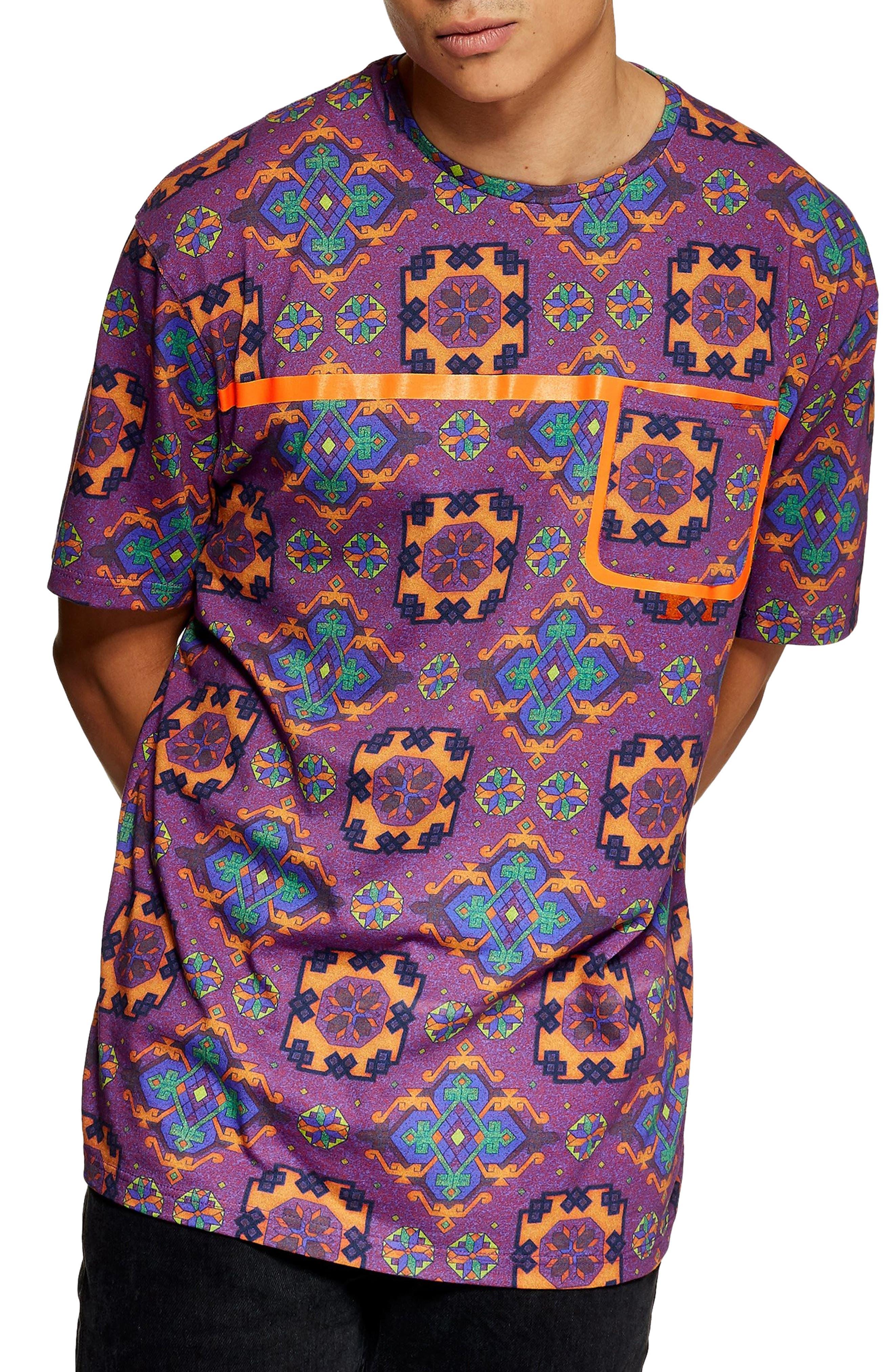 Tapestry Print Pocket T-Shirt,                             Main thumbnail 1, color,                             500