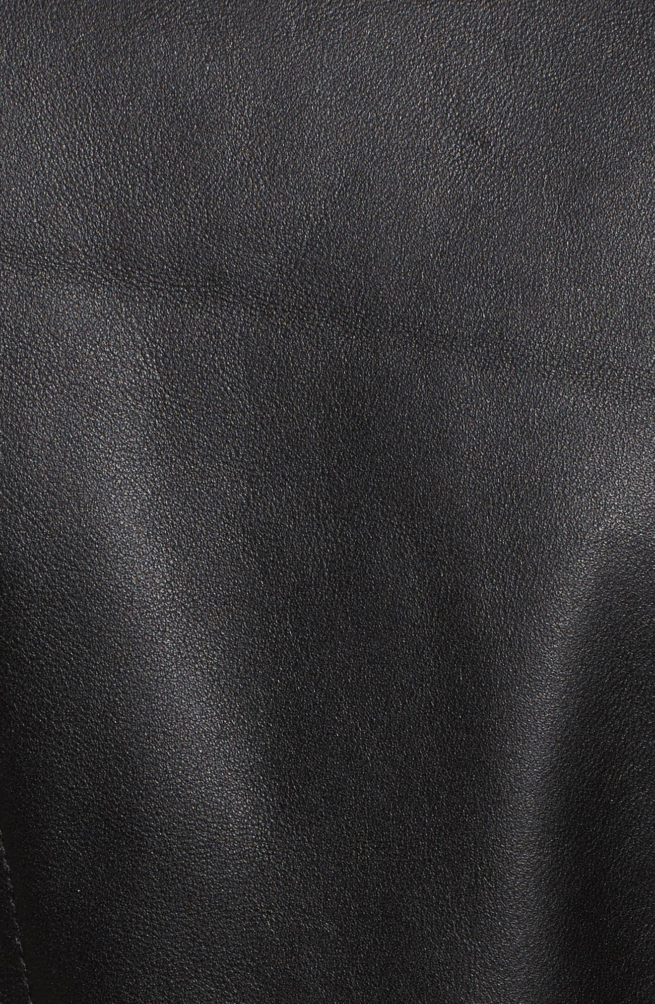 Double Zip Leather Moto Jacket,                             Alternate thumbnail 5, color,