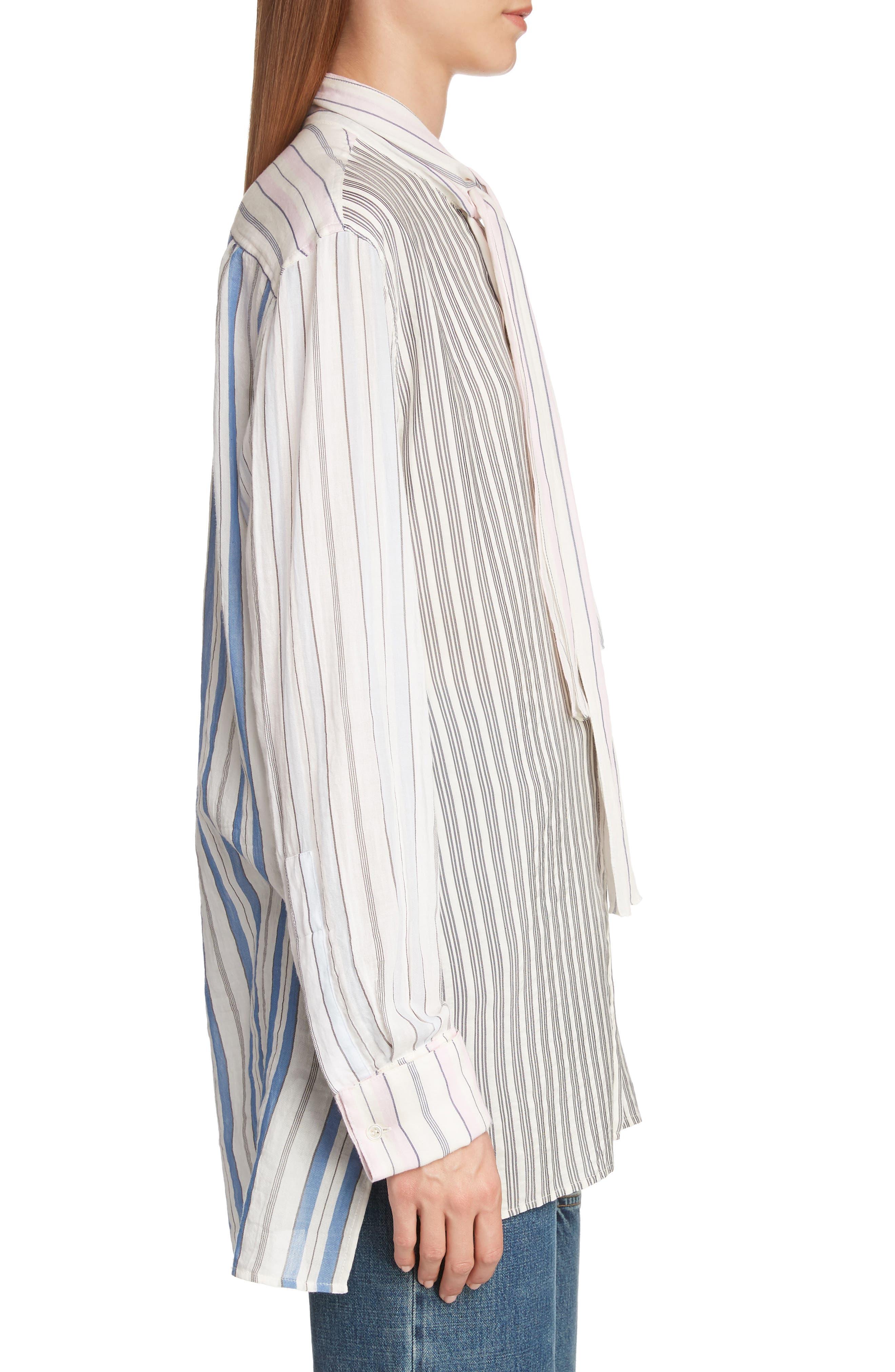Pajama Stripe Tie Neck Blouse,                             Alternate thumbnail 3, color,                             IVORY
