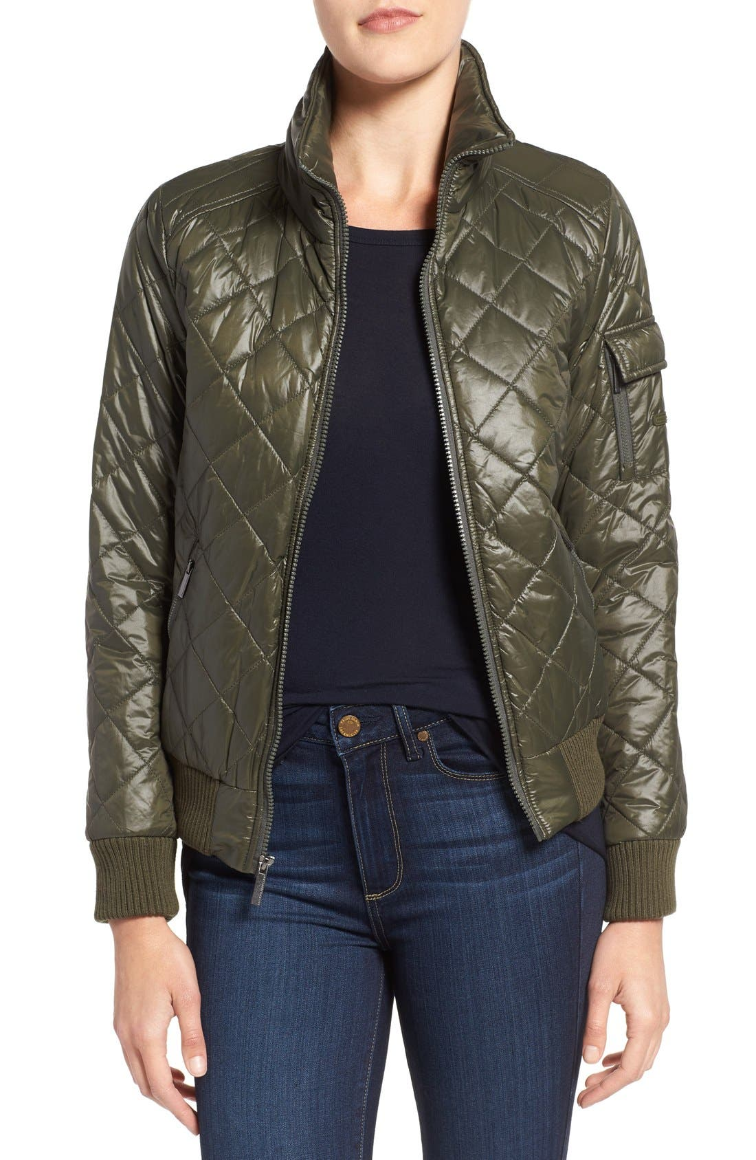 Quilted Bomber Jacket,                             Main thumbnail 4, color,