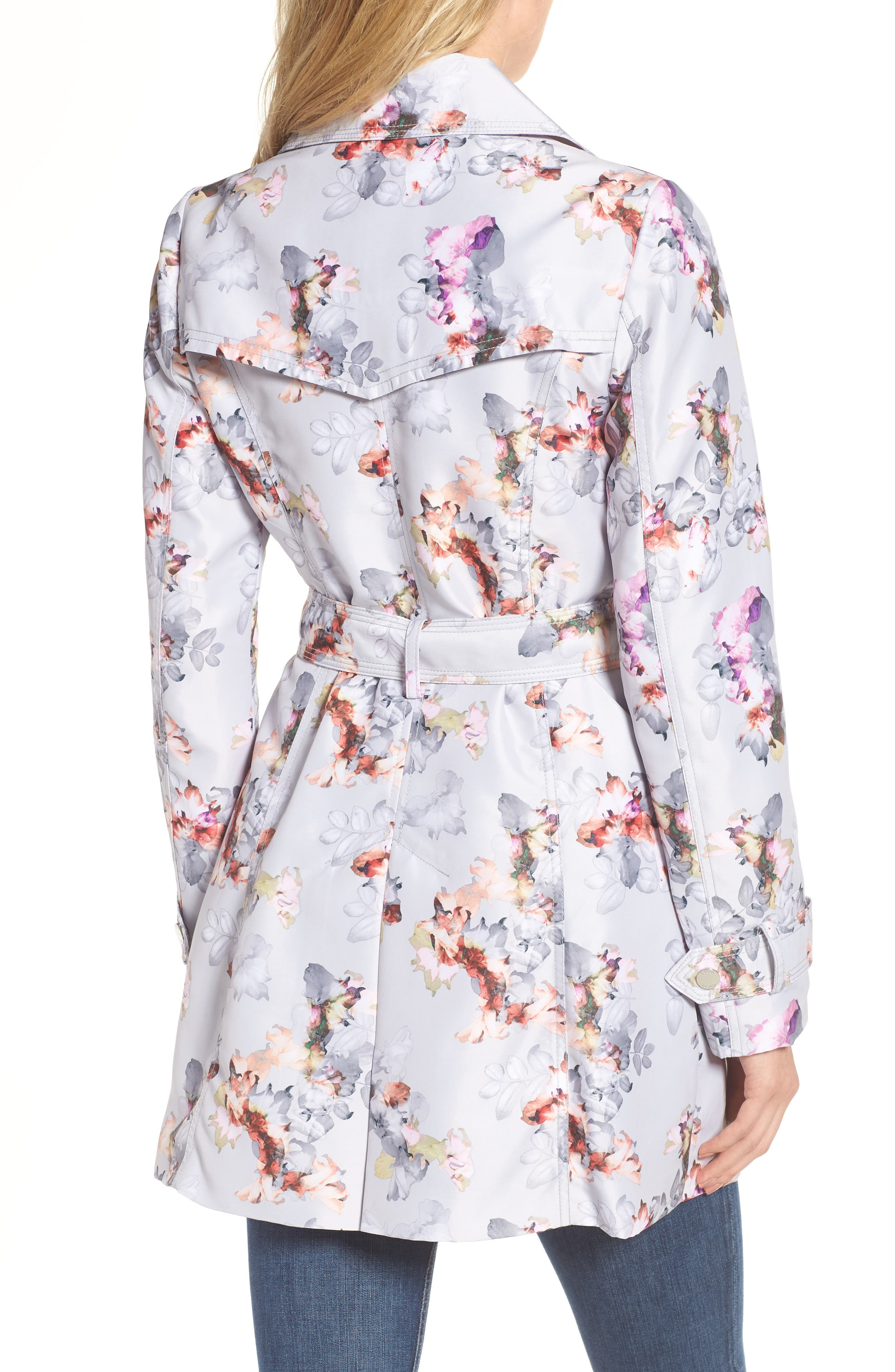 Double Breasted Floral Trench Coat,                             Alternate thumbnail 2, color,                             020