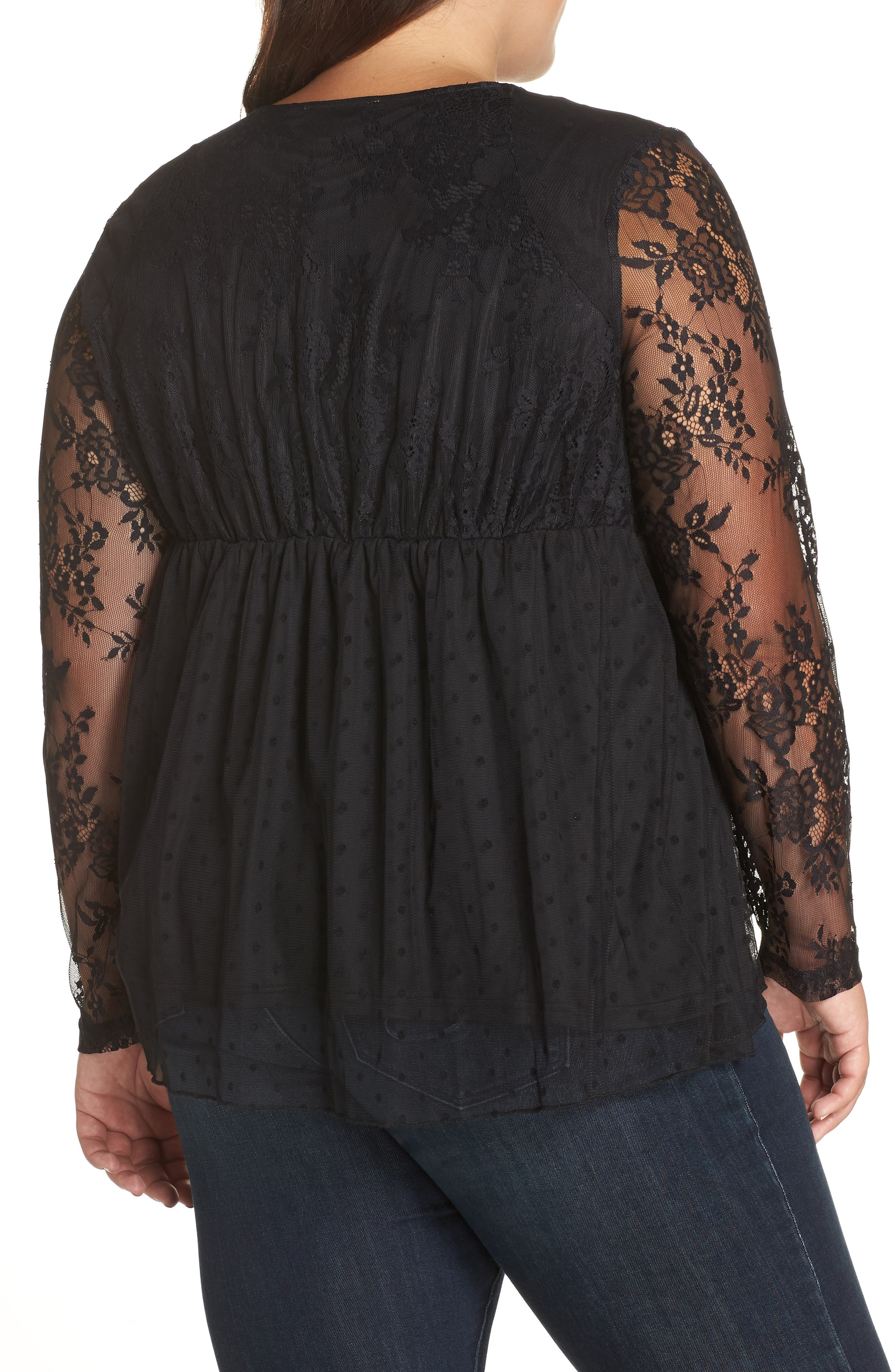Lace Overlay Blouse,                             Alternate thumbnail 2, color,                             BLACK