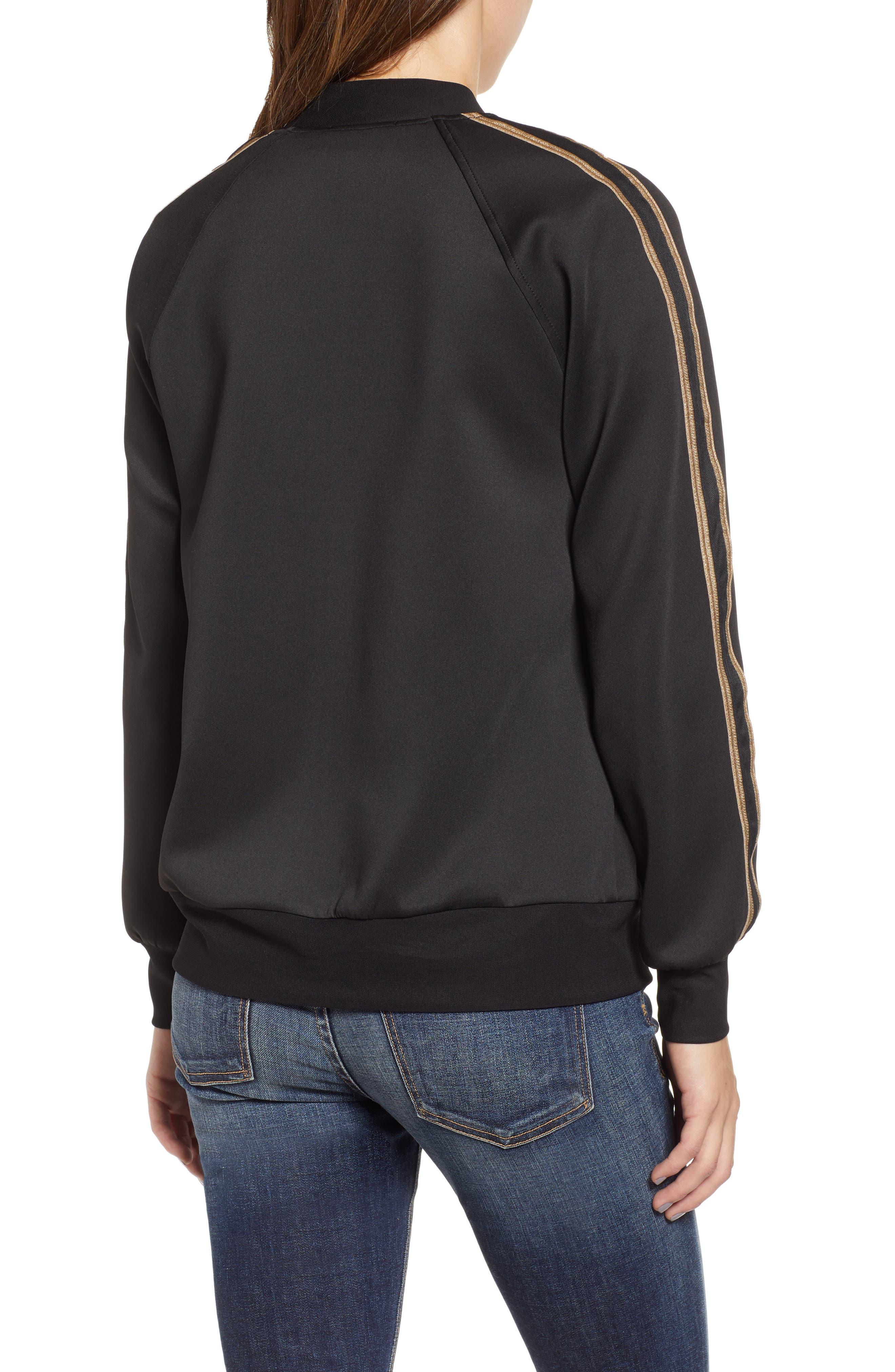 Metallic Stripe Track Jacket,                             Alternate thumbnail 2, color,                             BLACK