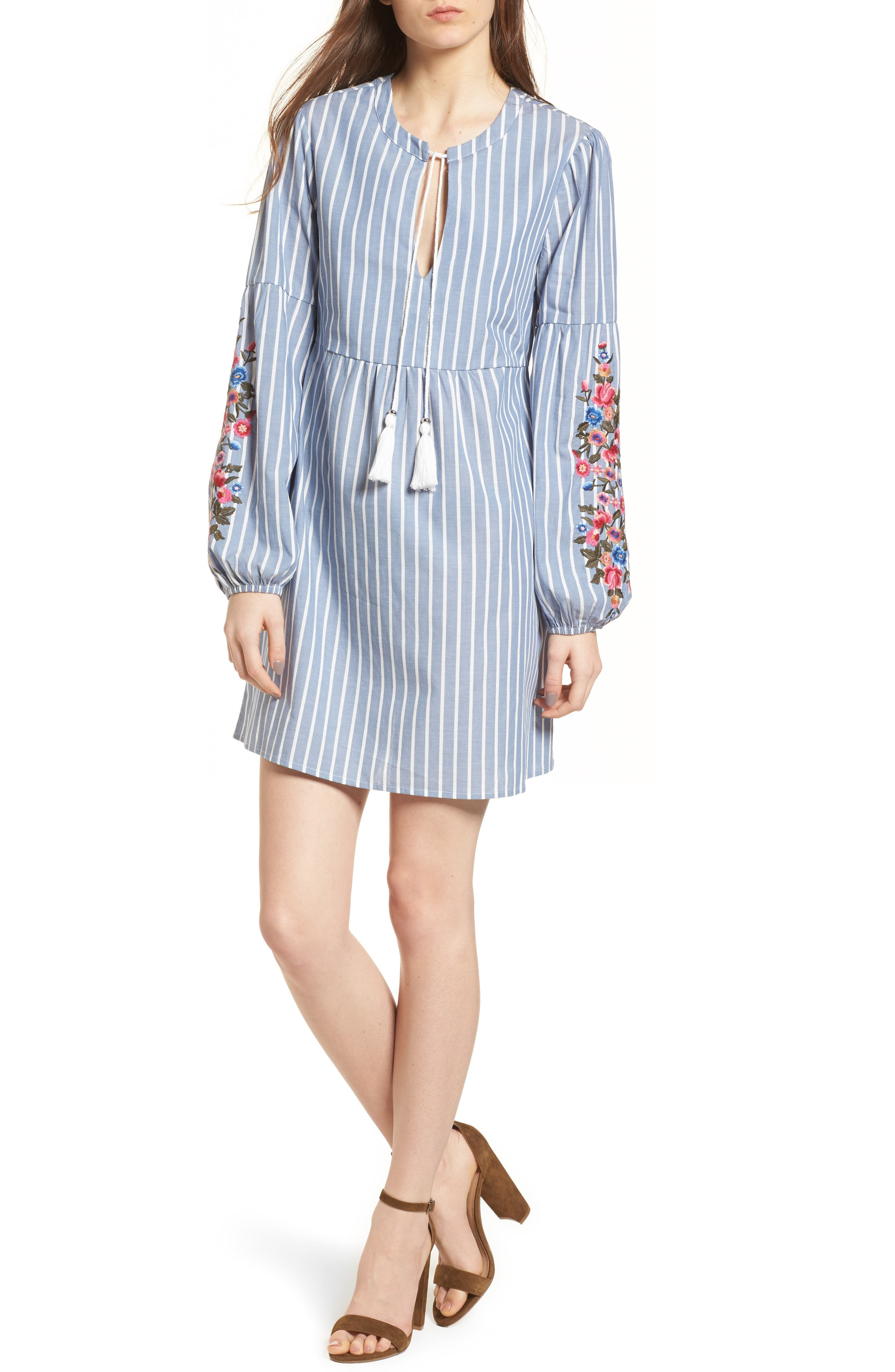 Embroidered Babydoll Dress,                         Main,                         color, 400