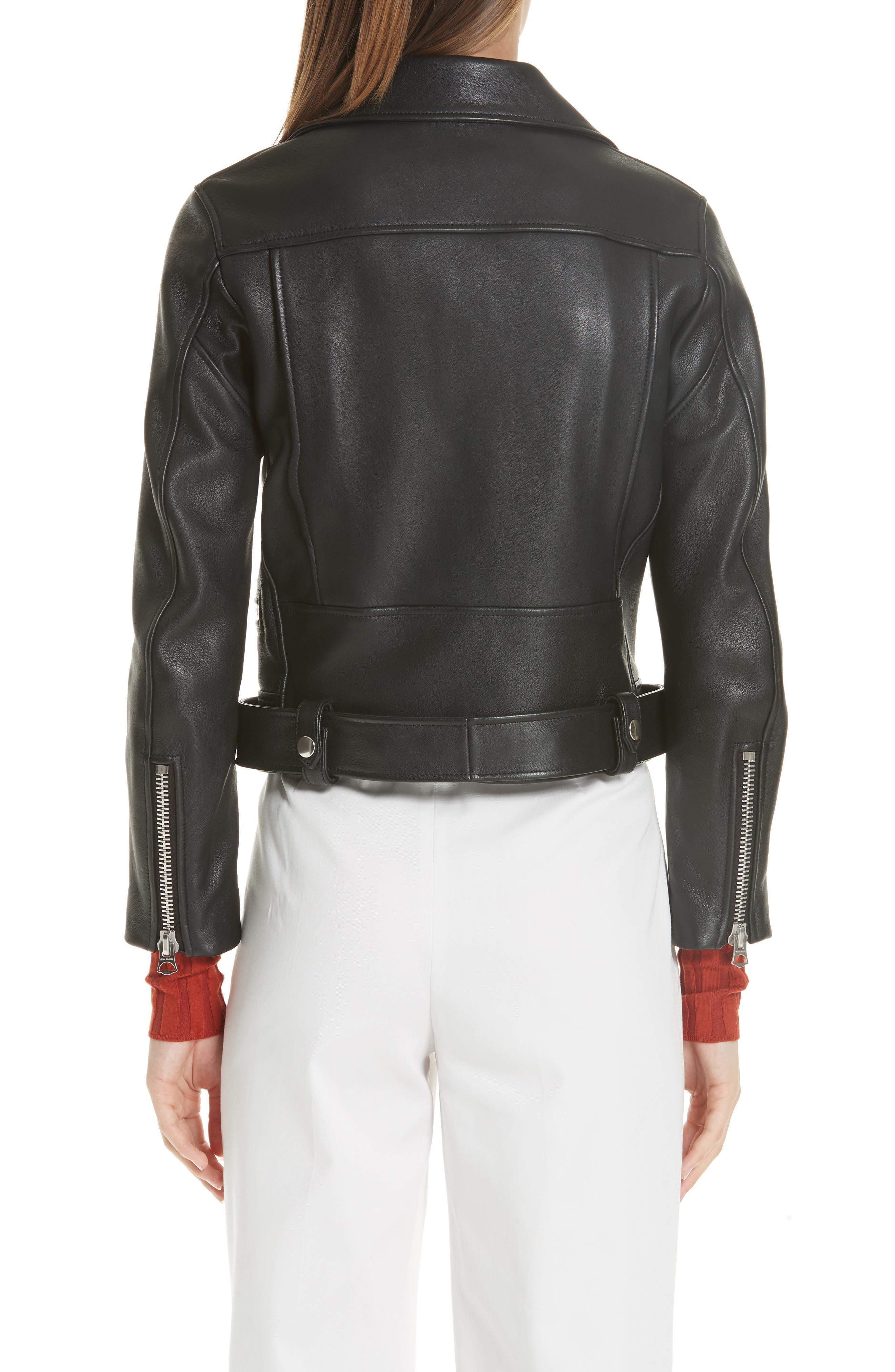 Mock Core Leather Moto Jacket,                             Alternate thumbnail 2, color,                             BLACK