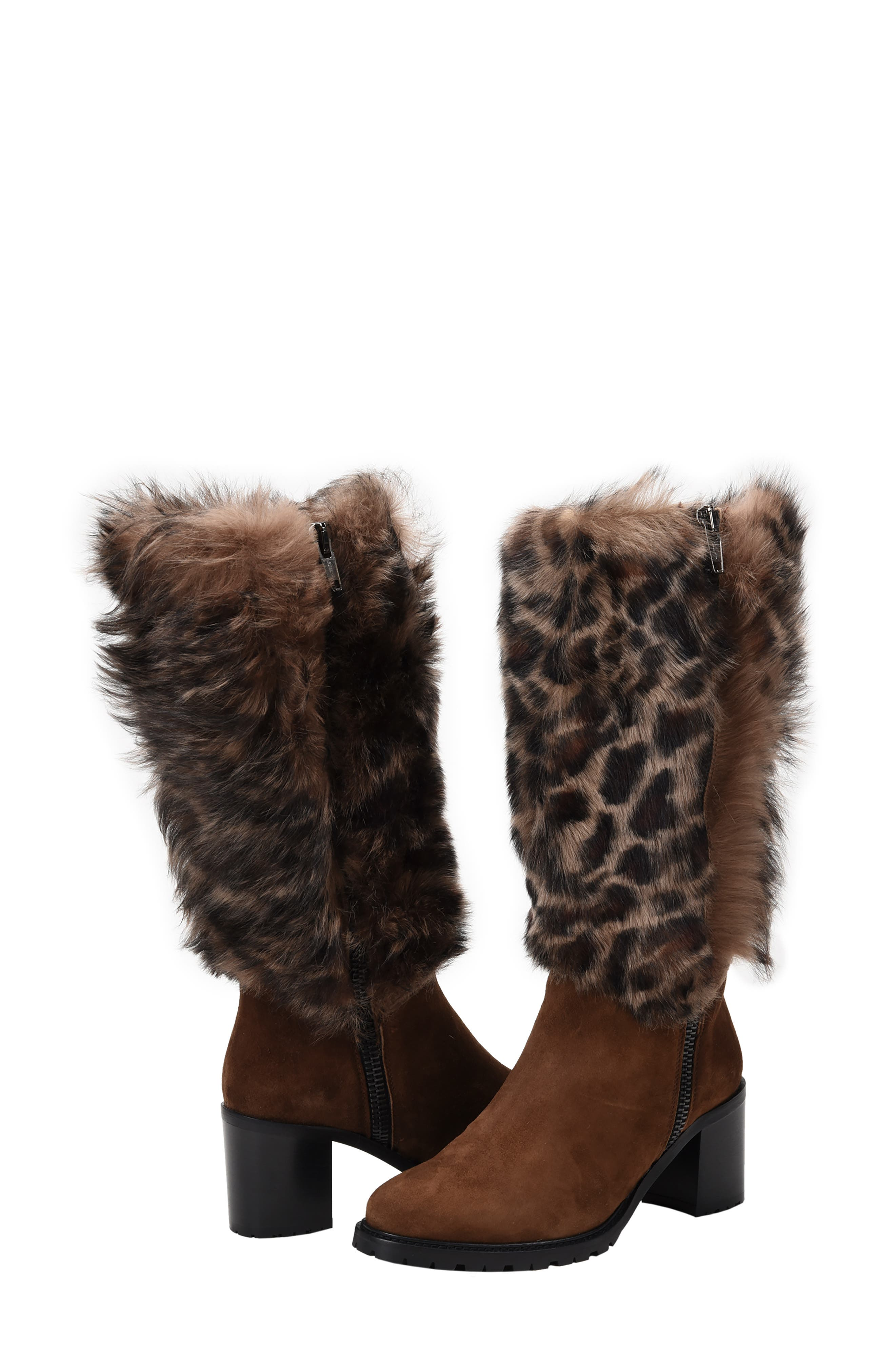 Weatherproof Genuine Shearling Boot,                             Alternate thumbnail 8, color,                             LEOPARD LEATHER