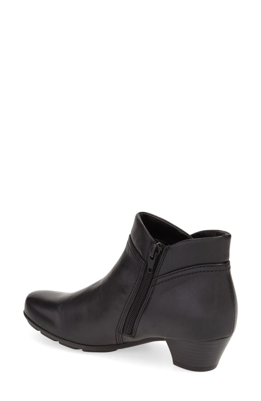 Ankle Bootie,                             Alternate thumbnail 2, color,                             BLACK LEATHER