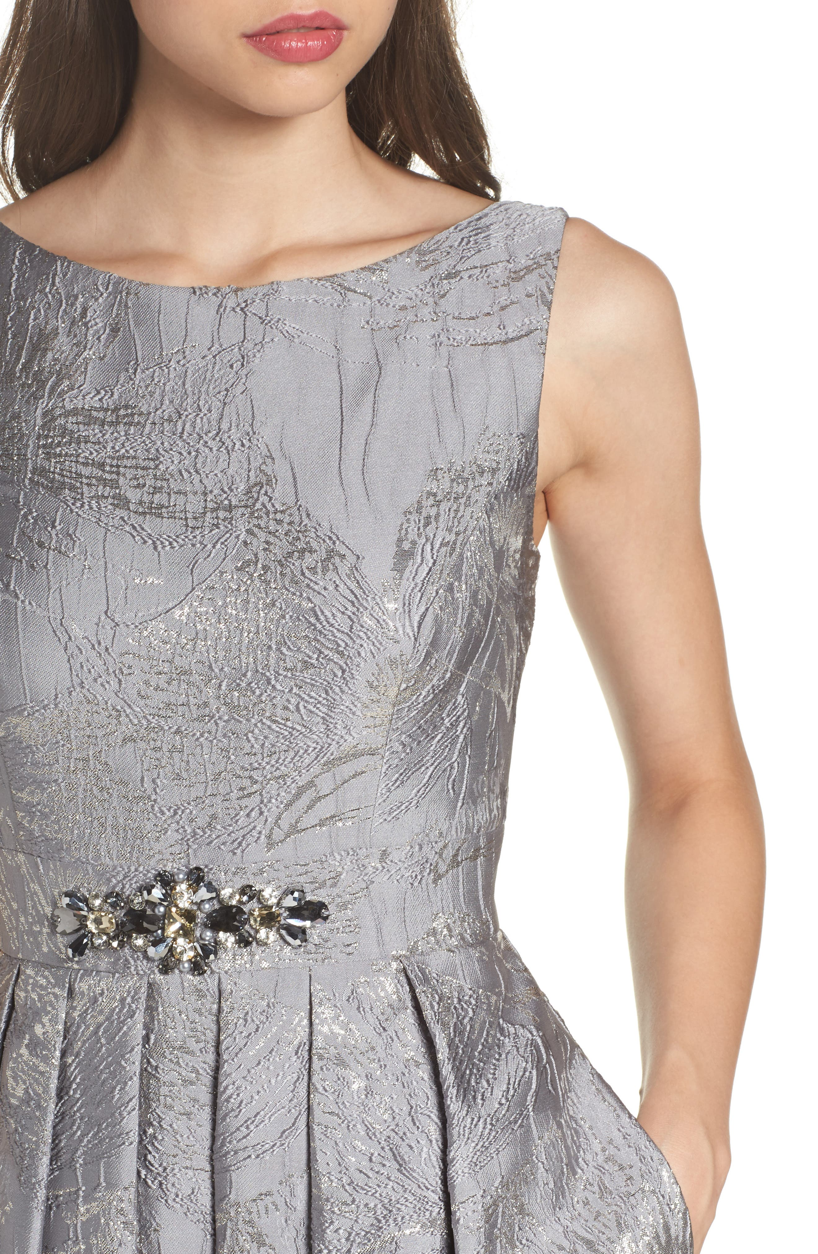 Embellished Brocade Ballgown,                             Alternate thumbnail 4, color,                             040