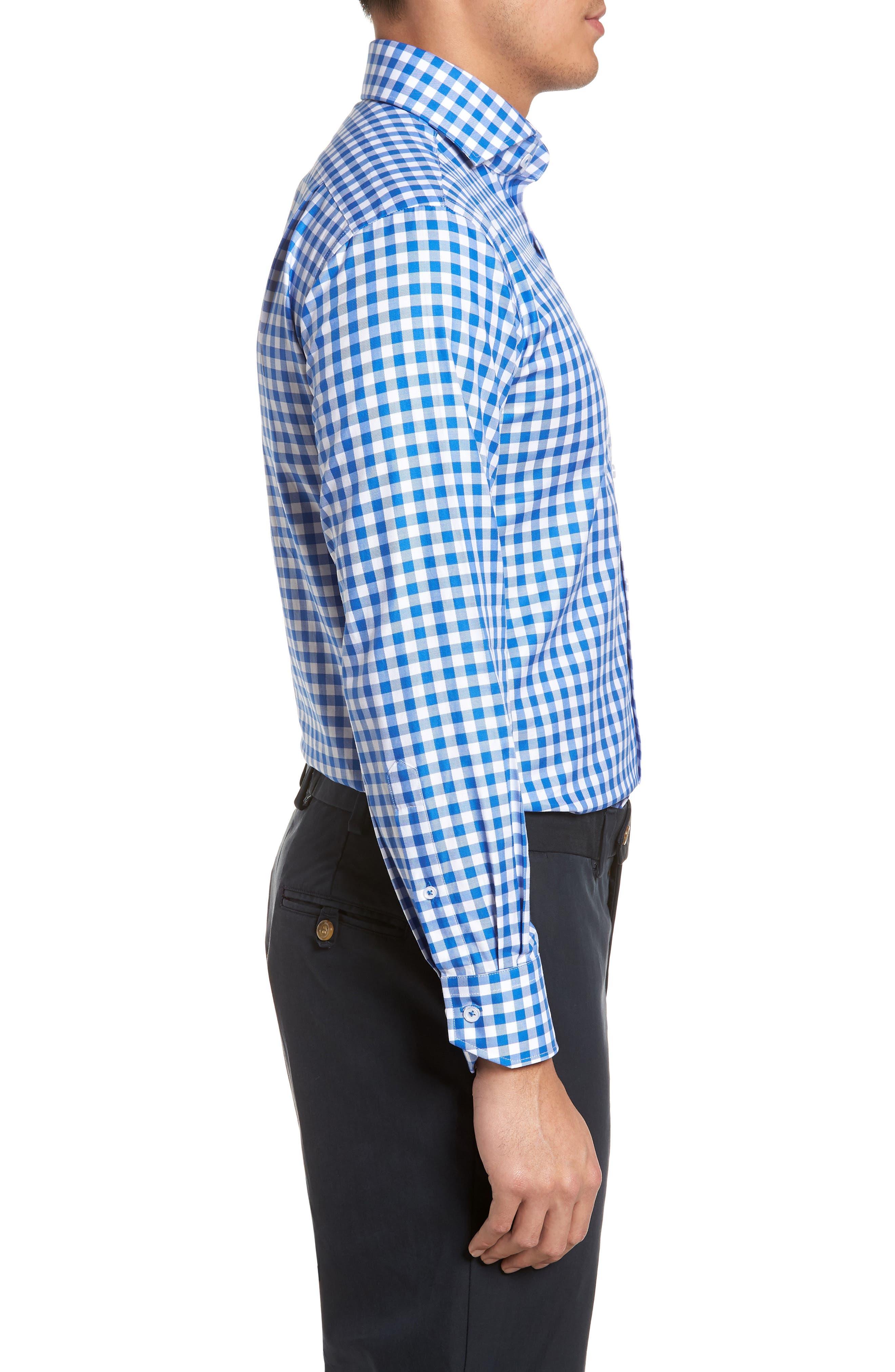 Trim Fit Gingham Dress Shirt,                             Alternate thumbnail 4, color,                             BLUE