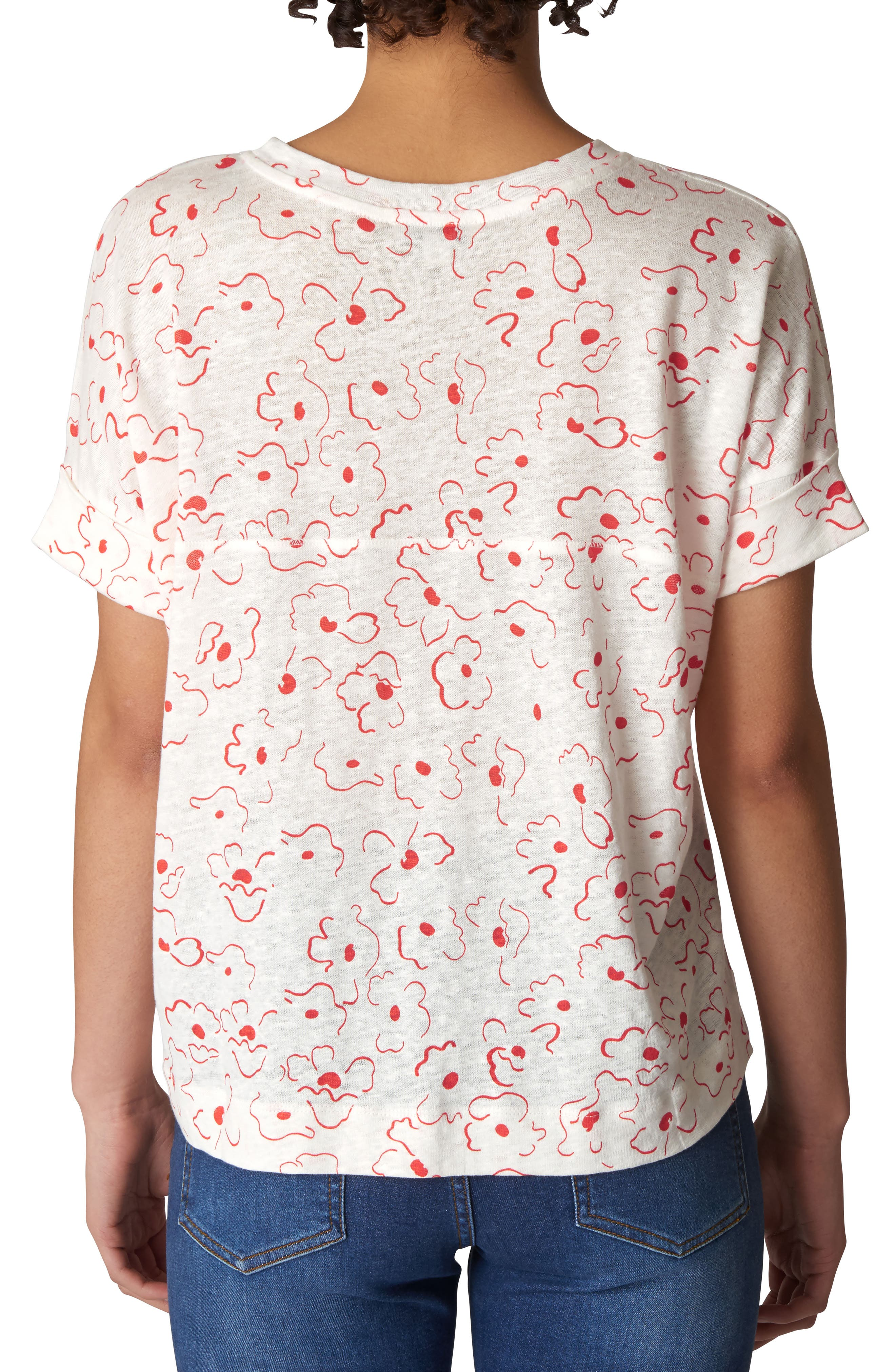 Magnolia Print Linen Tee,                             Alternate thumbnail 2, color,