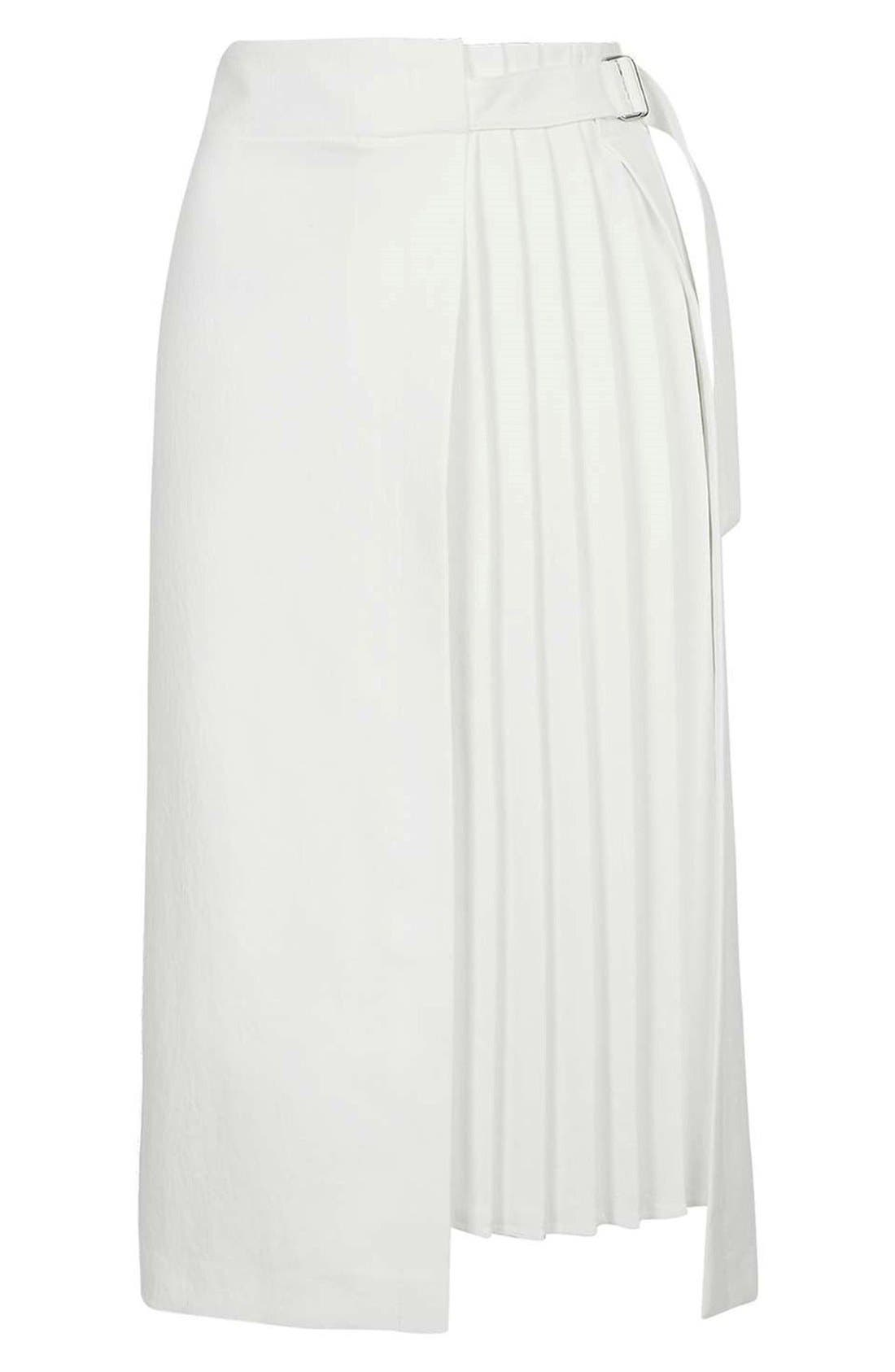 Pleat Detail Wrap Midi Skirt,                             Alternate thumbnail 2, color,                             900