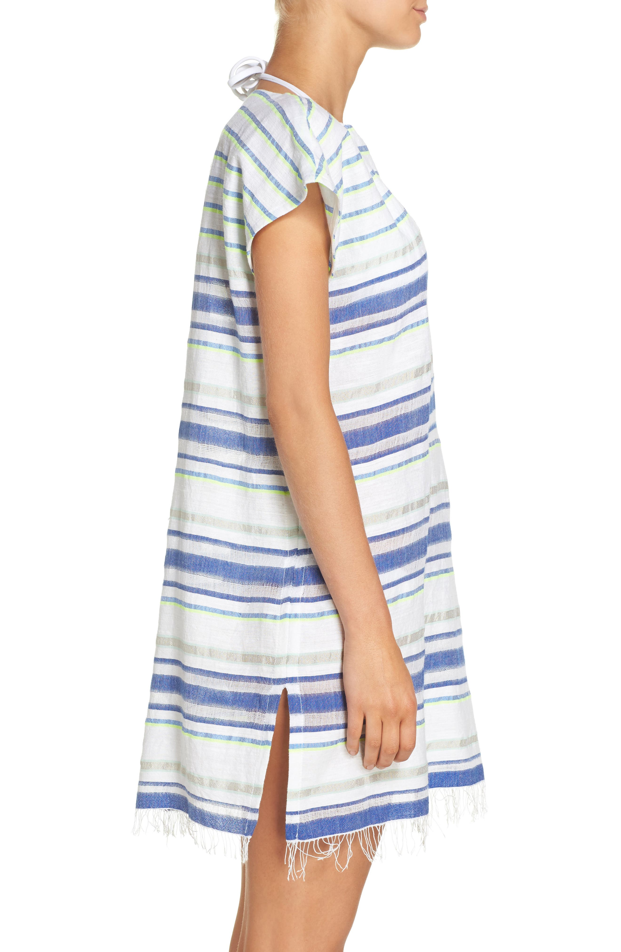 Stripe Cover-Up Tunic,                             Alternate thumbnail 3, color,                             100