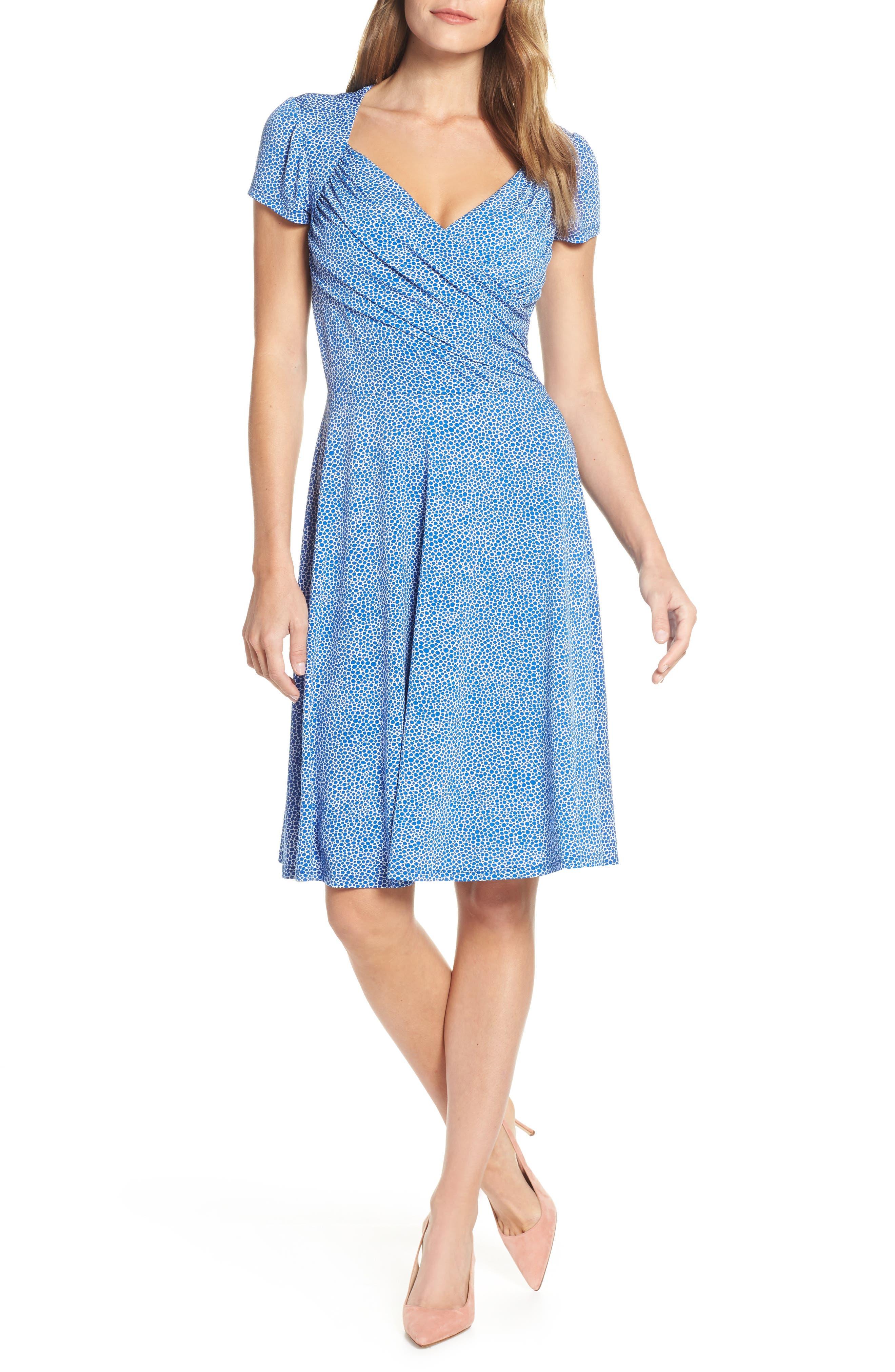 Leota Print Jersey Fit & Flare Dress, Blue