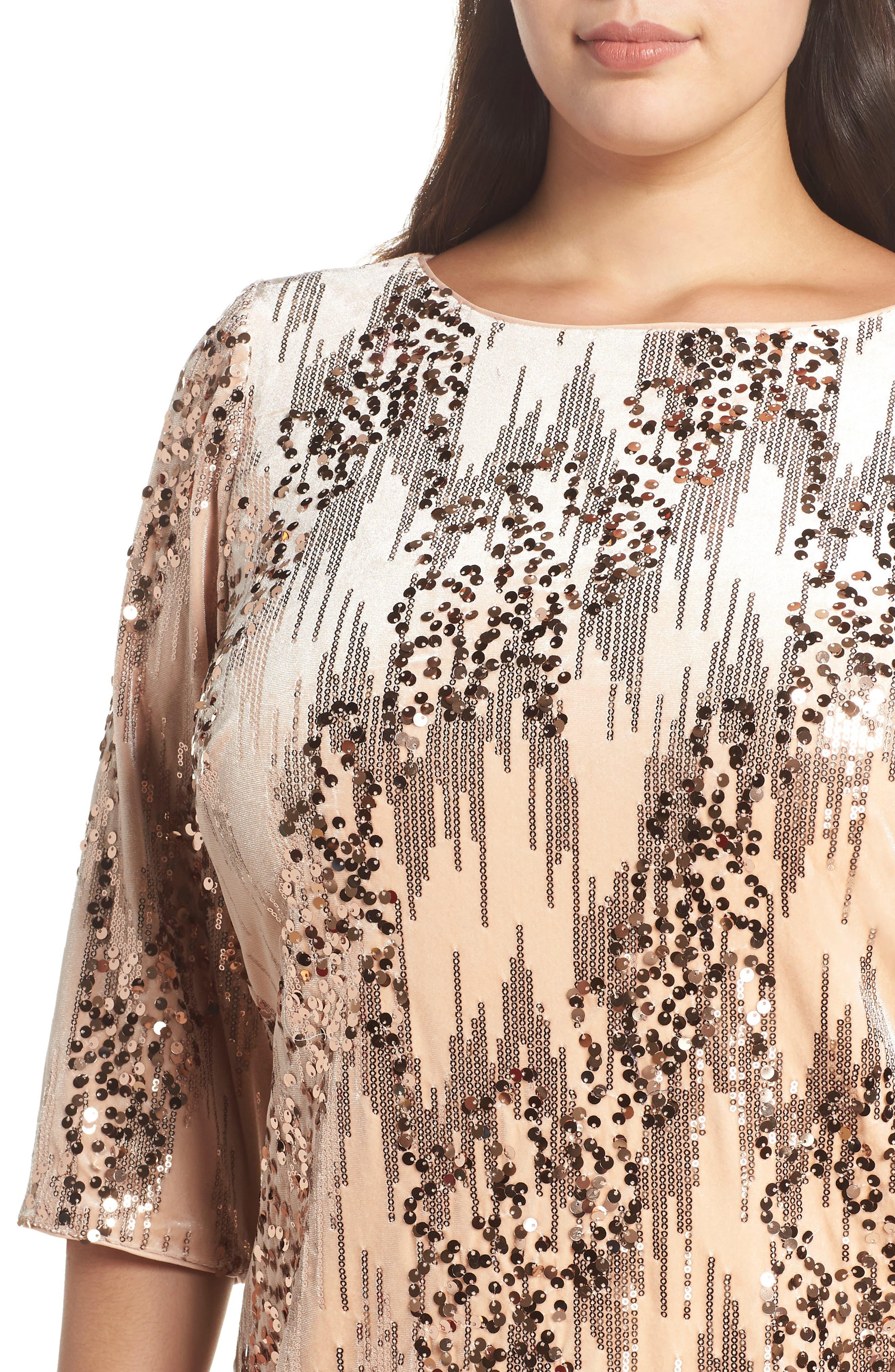 Sequin Velvet Shift Dress,                             Alternate thumbnail 4, color,                             BLUSH