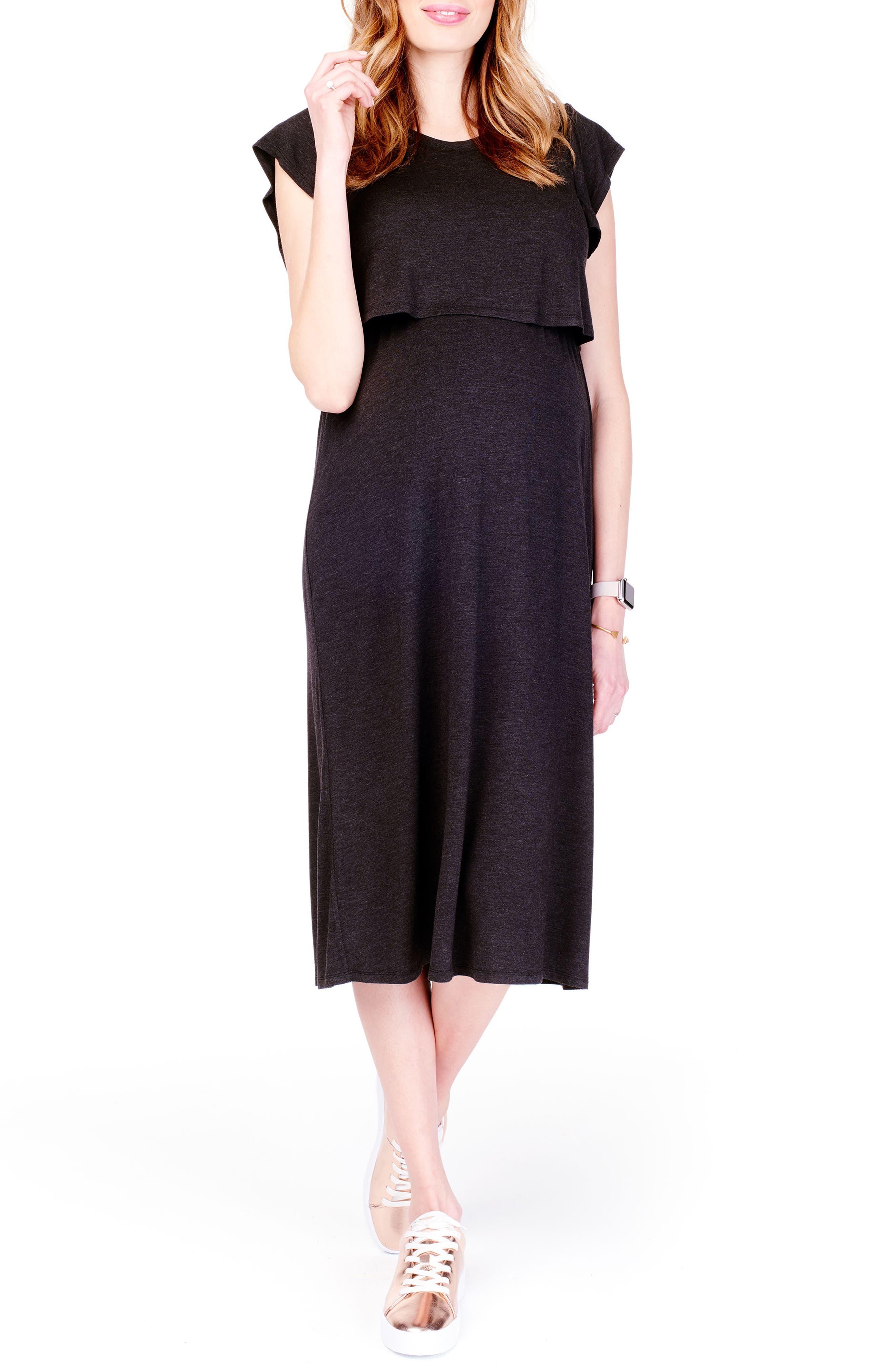 Maternity/Nursing Midi Dress,                         Main,                         color, CHARCOAL HEATHER