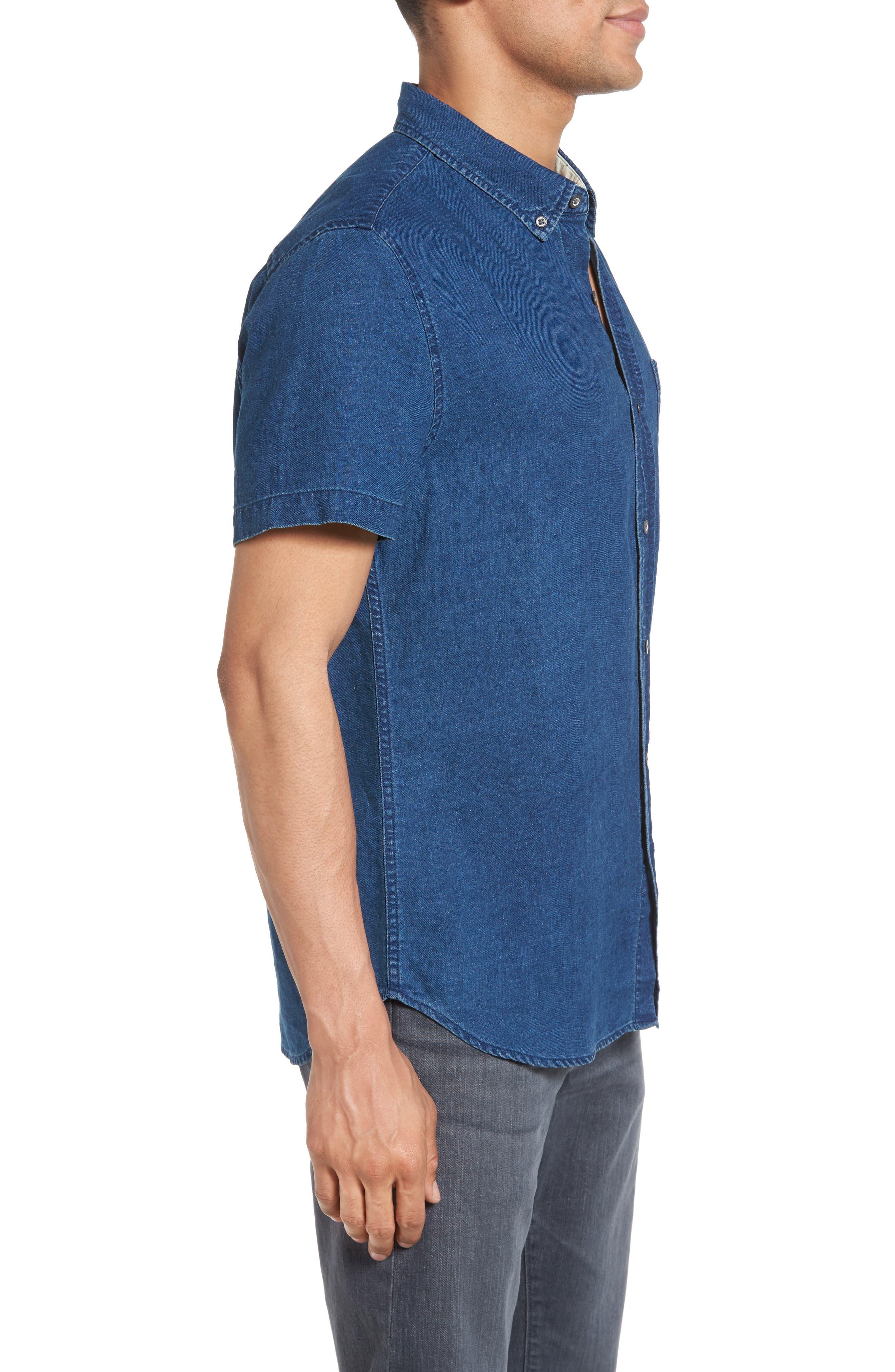 Nash Slim Fit Linen & Cotton Sport Shirt,                             Alternate thumbnail 3, color,                             404