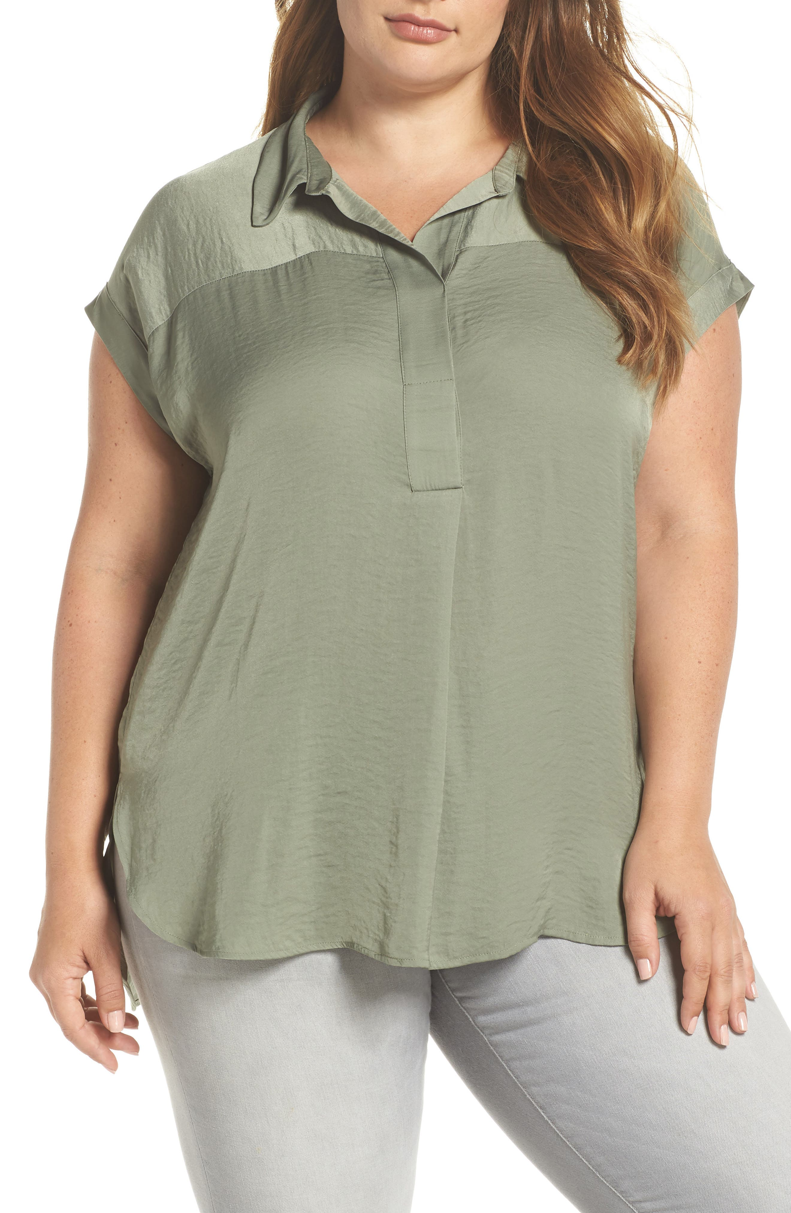 Collared Henley High/Low Top,                         Main,                         color, CAMO GREEN