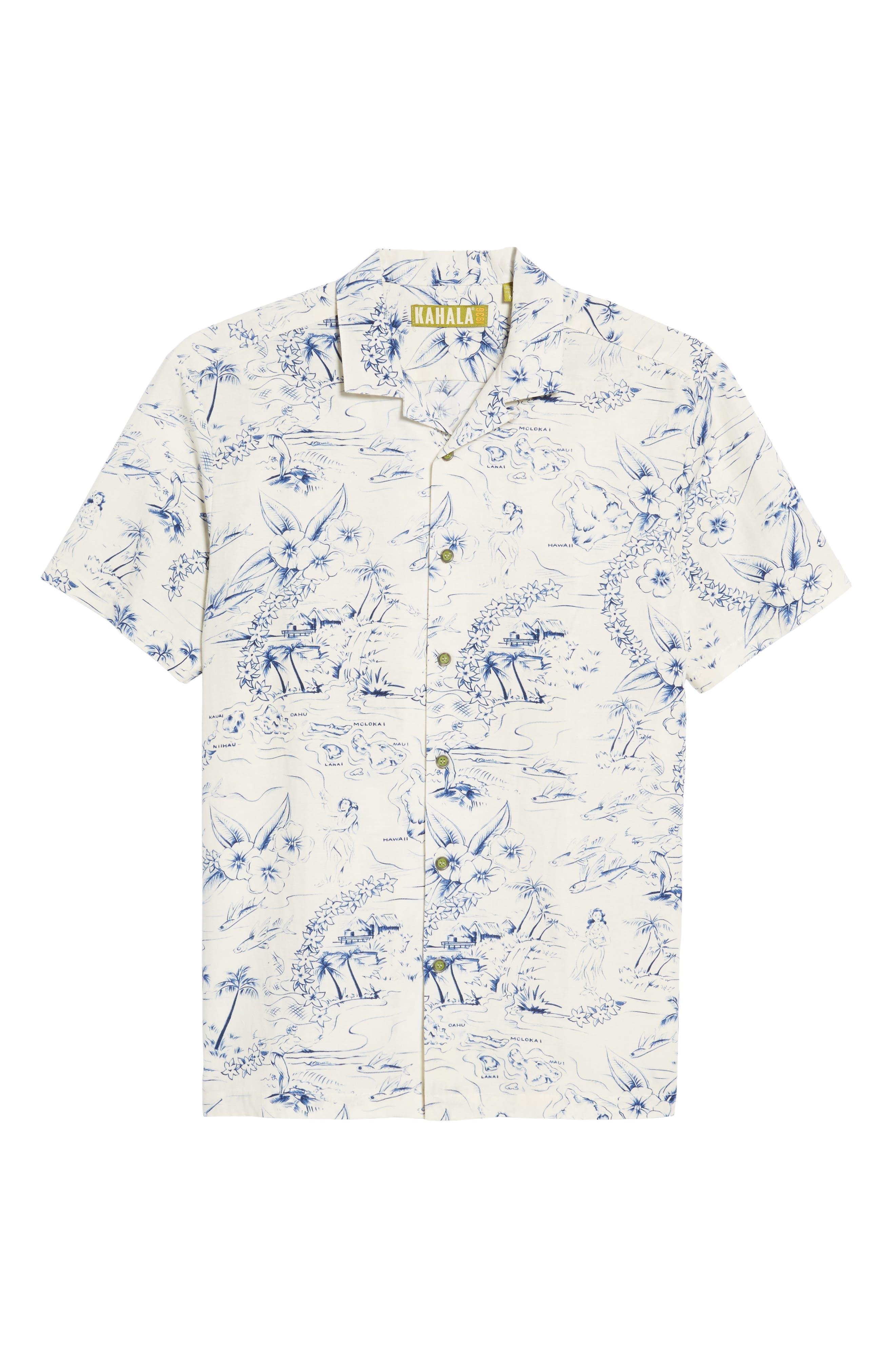 Konohiki Slim Fit Print Sport Shirt,                             Alternate thumbnail 6, color,                             102