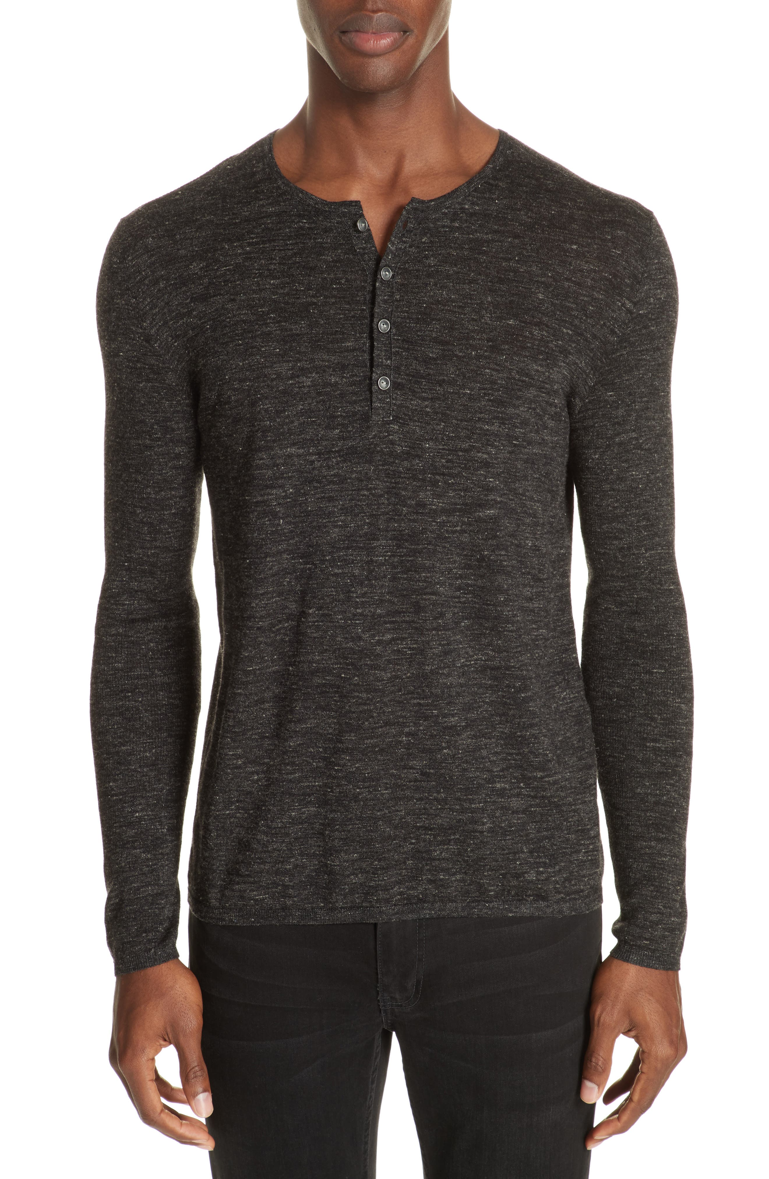 Mélange Henley Sweater,                         Main,                         color, DARK CHARCOAL