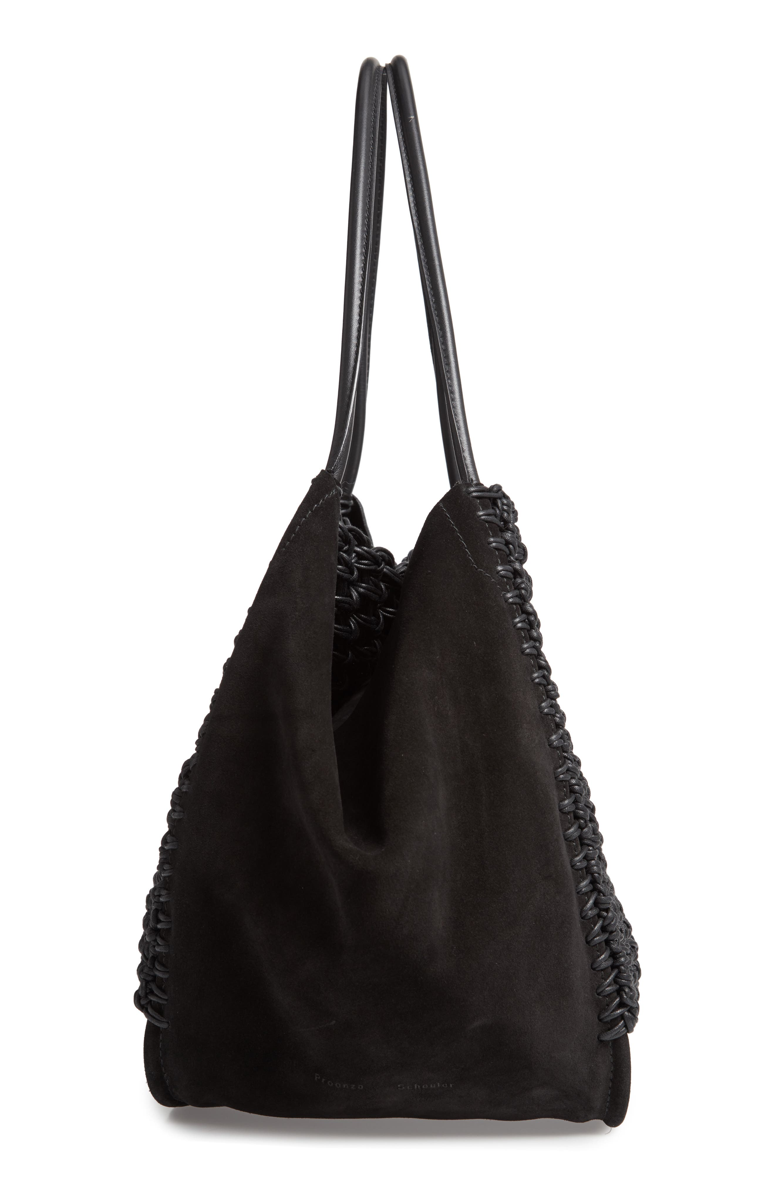 Large Macramé Tote,                             Alternate thumbnail 5, color,                             BLACK/ BLACK
