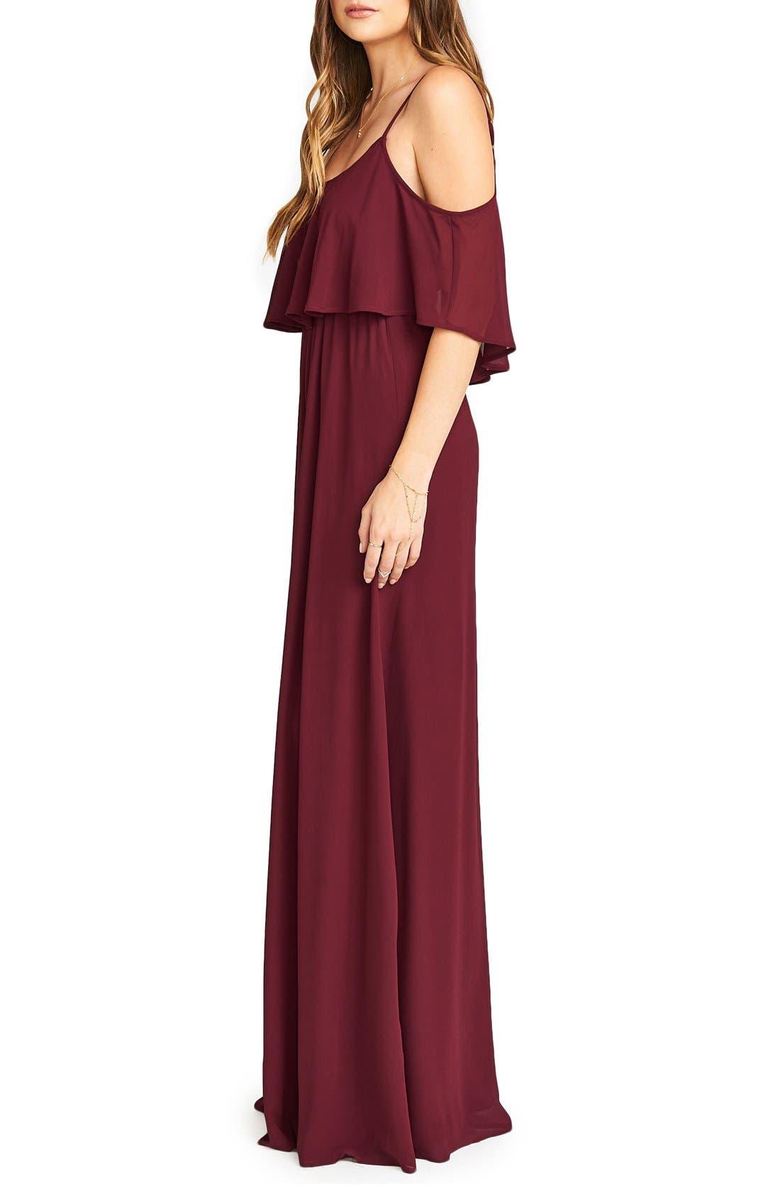 Caitlin Cold Shoulder Chiffon Gown,                             Alternate thumbnail 75, color,