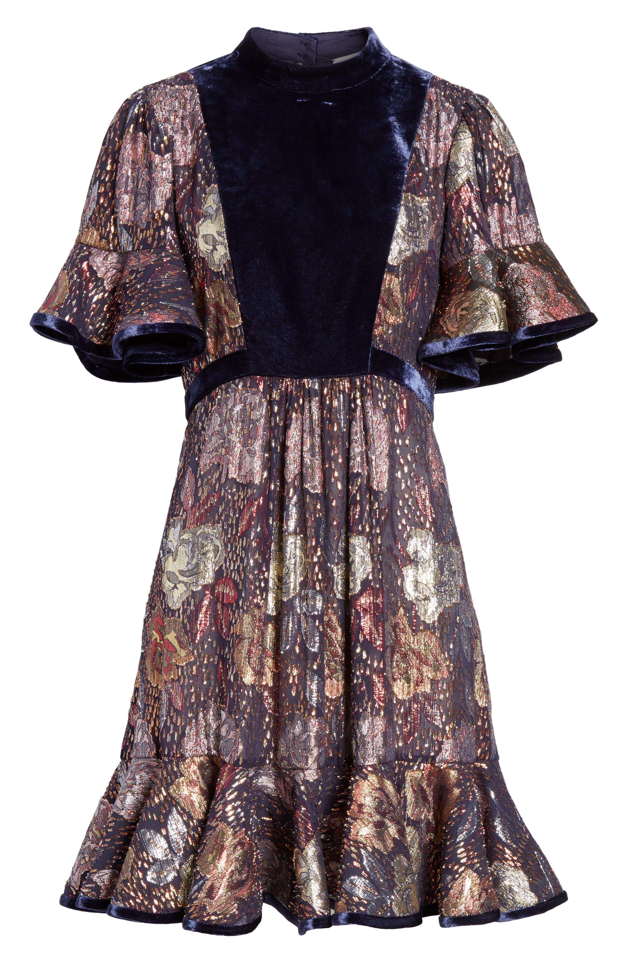 REBECCA TAYLOR,                             Velvet and Metallic Tapestry Dress,                             Alternate thumbnail 6, color,                             500