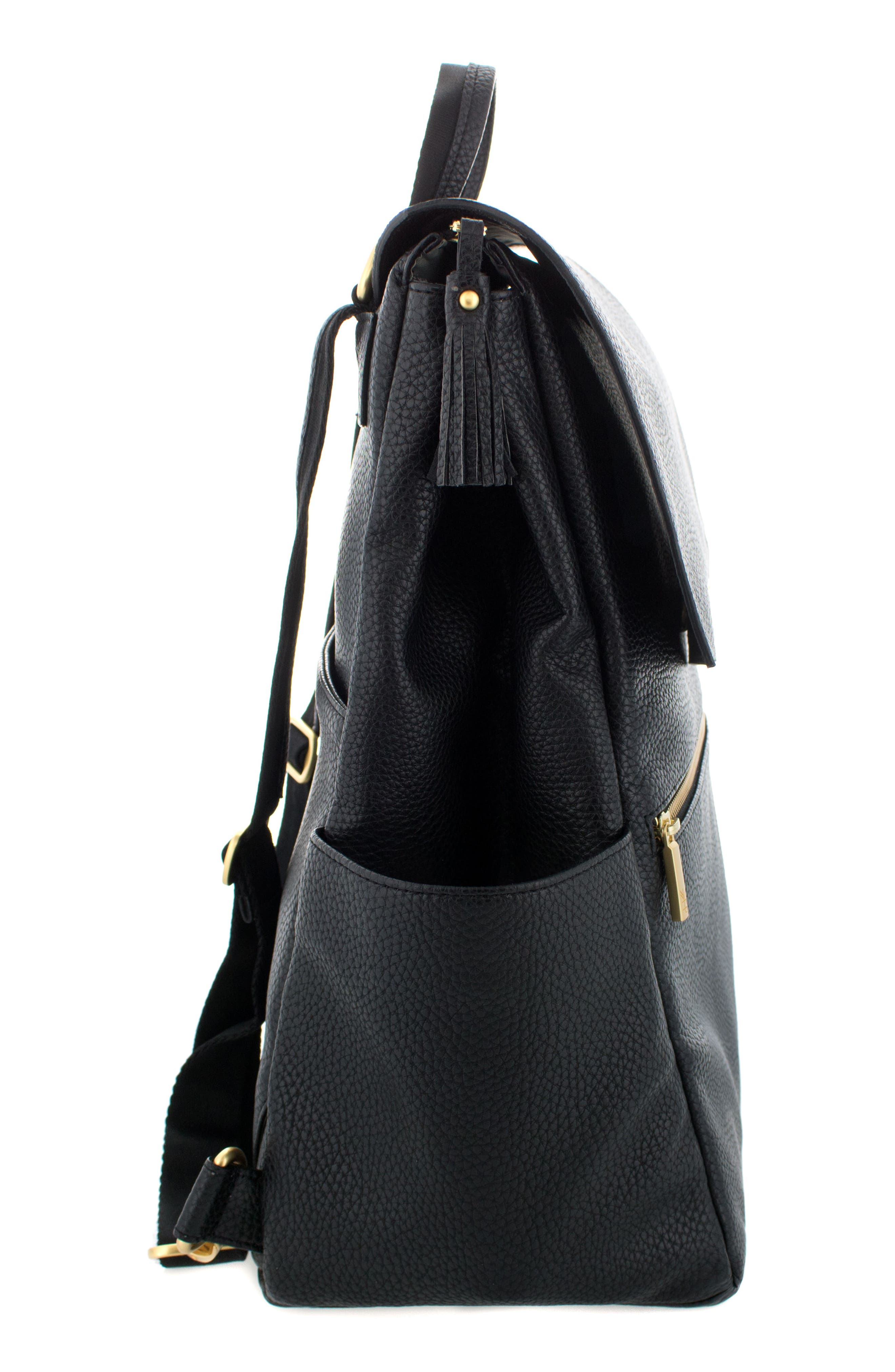 Convertible Diaper Backpack,                             Alternate thumbnail 4, color,                             EBONY