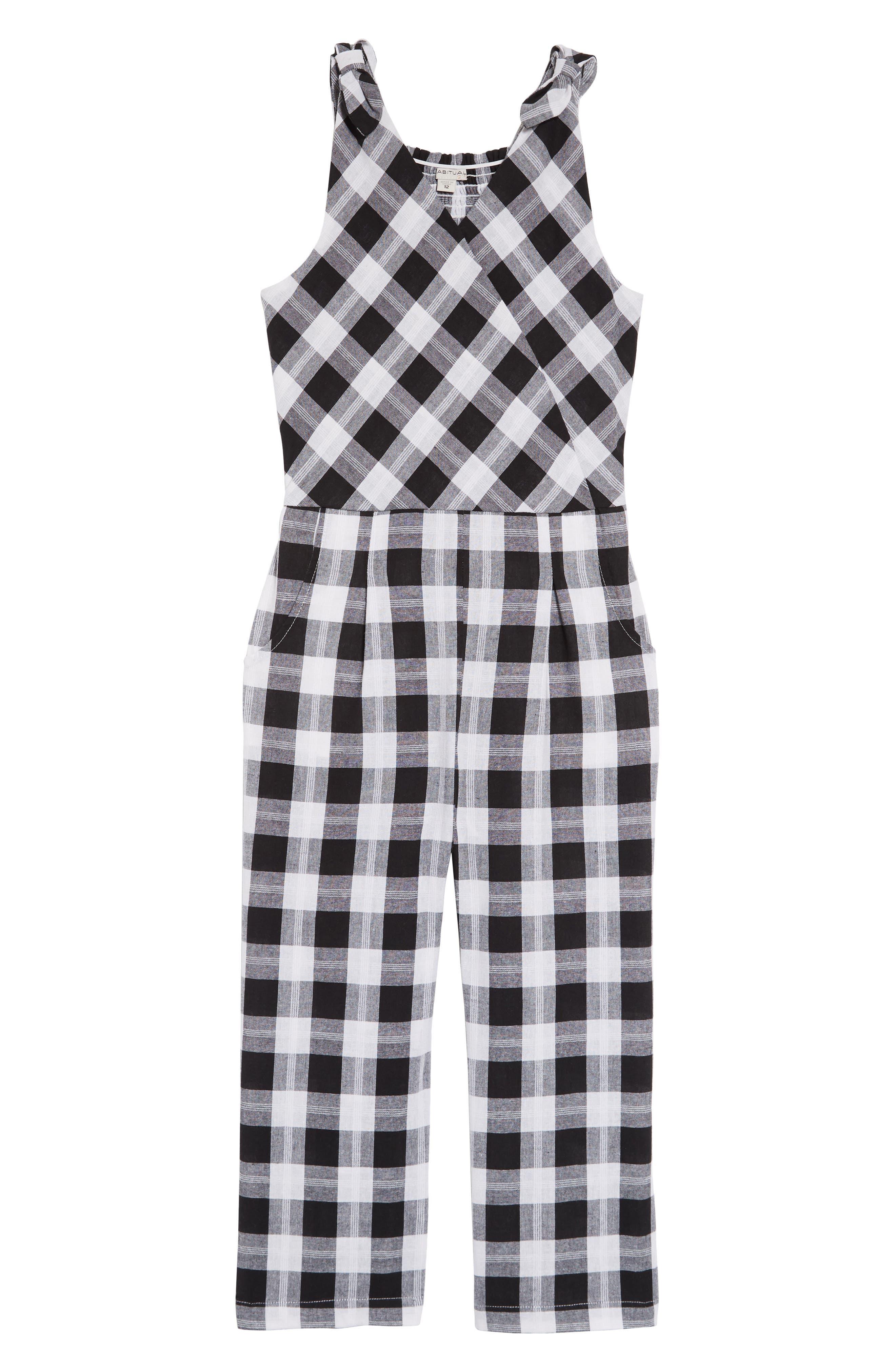 Girls Habitual Kids Kasie Yarn Dyed Plaid Jumpsuit Size 10  Black