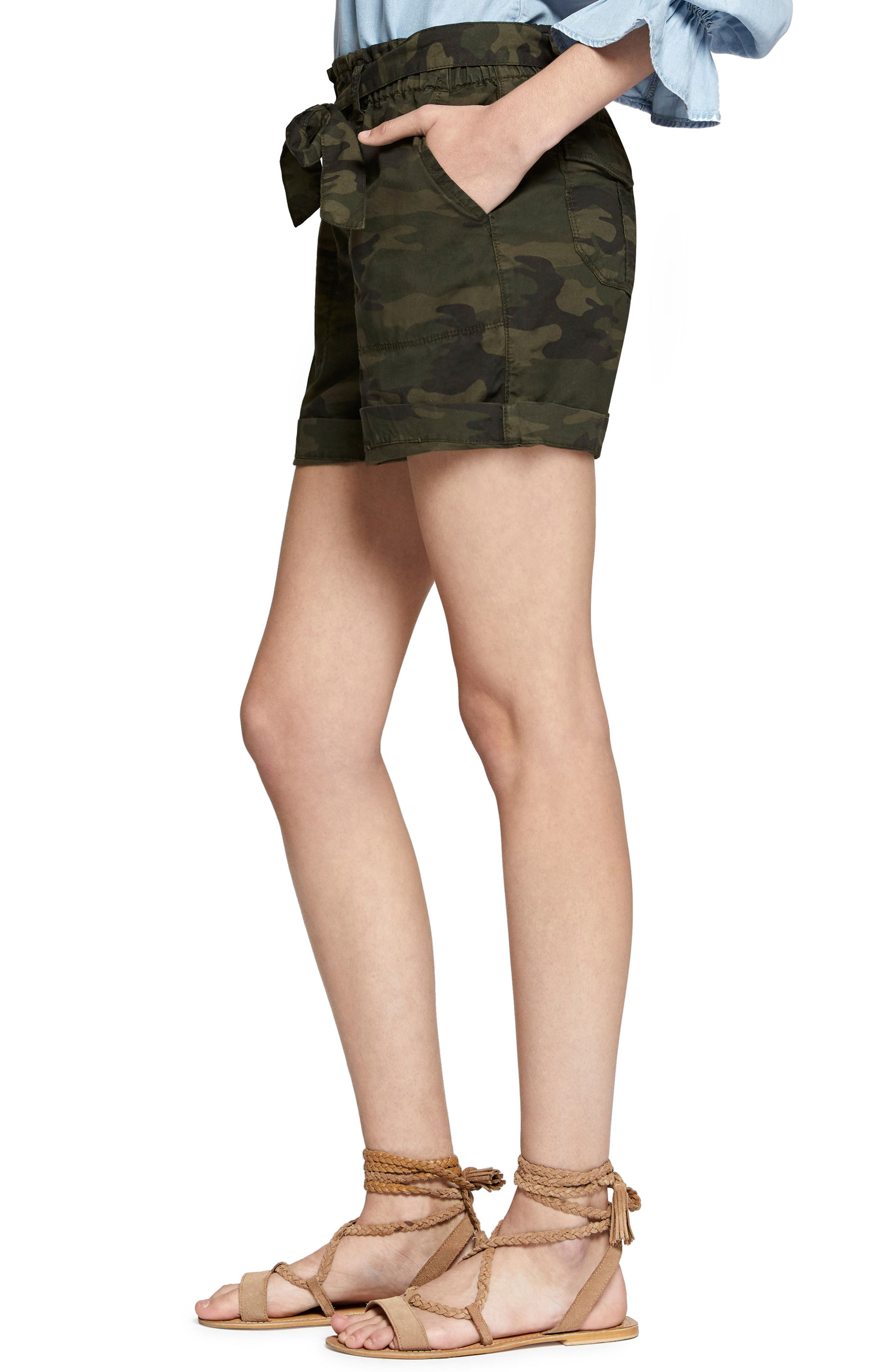 Daydreamer Stretch Cotton Camo Shorts,                             Alternate thumbnail 3, color,                             398