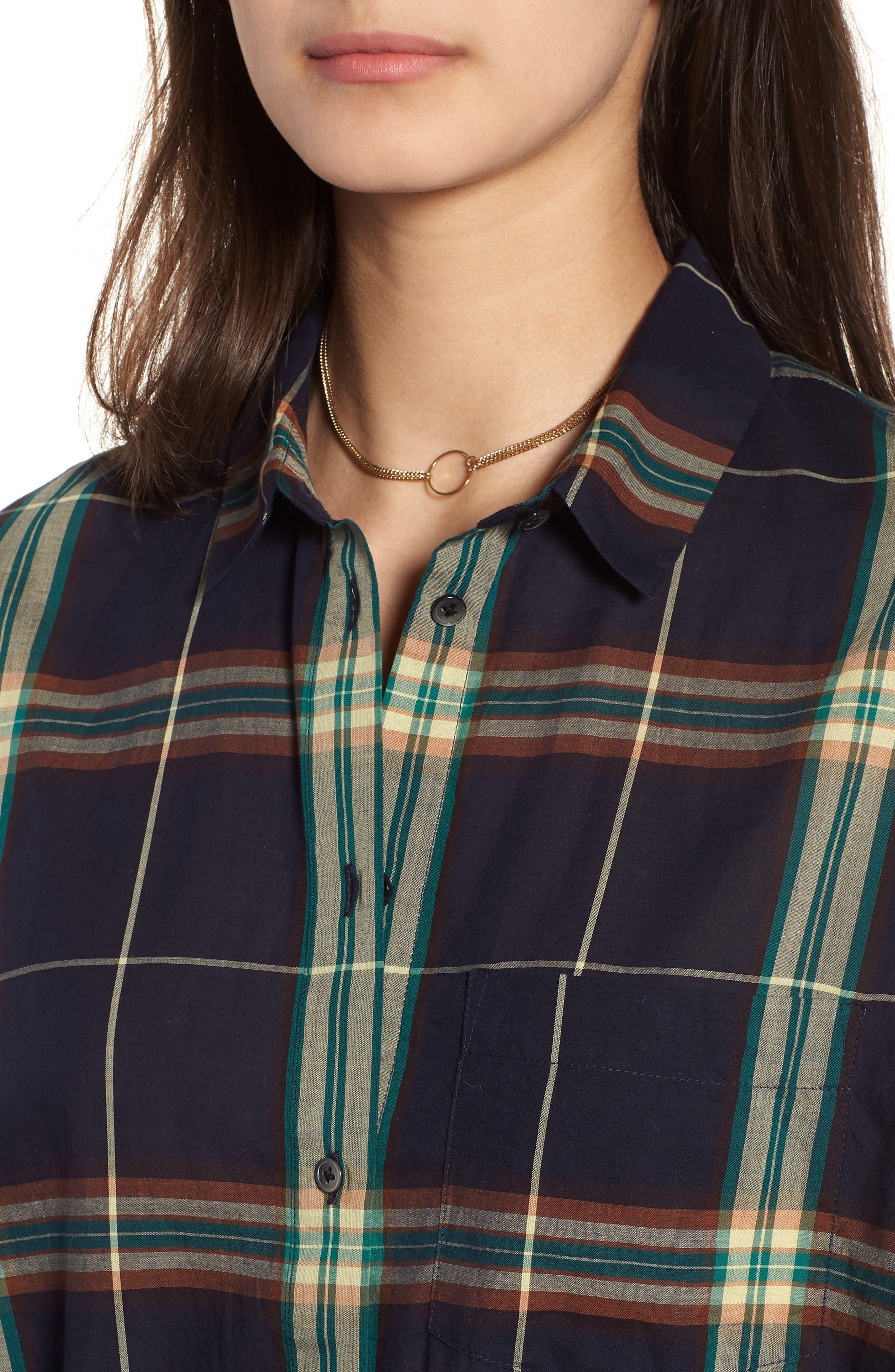 Oversize Ex-Boyfriend Plaid Shirt,                             Alternate thumbnail 4, color,                             300