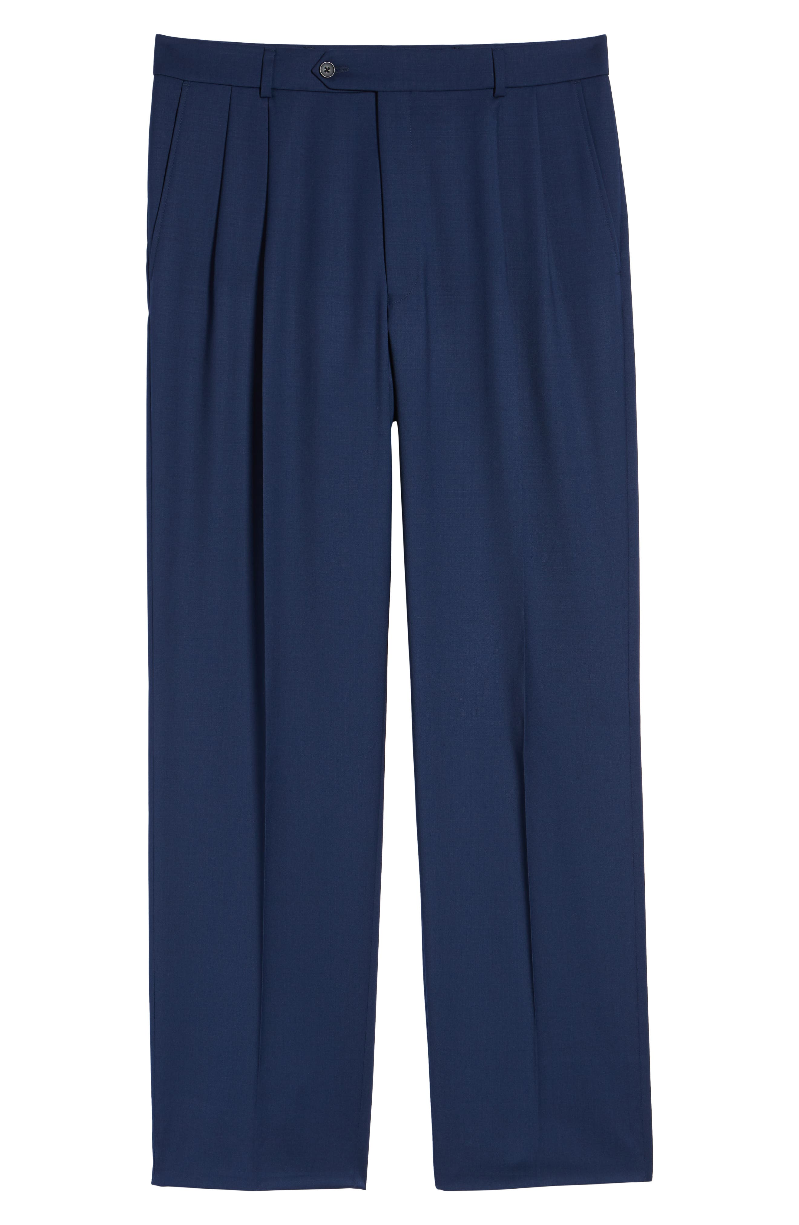 Pleated Solid Wool Trousers,                             Alternate thumbnail 67, color,