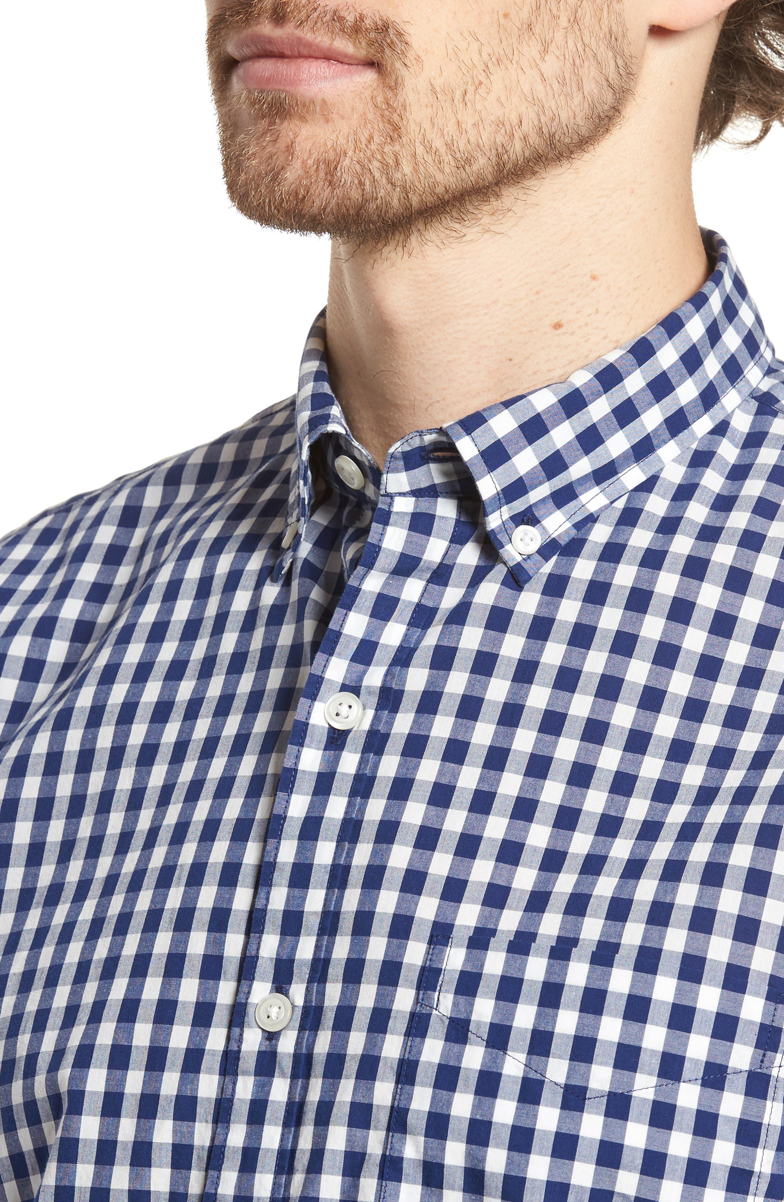 Summerweight Slim Fit Check Sport Shirt,                             Alternate thumbnail 4, color,                             400
