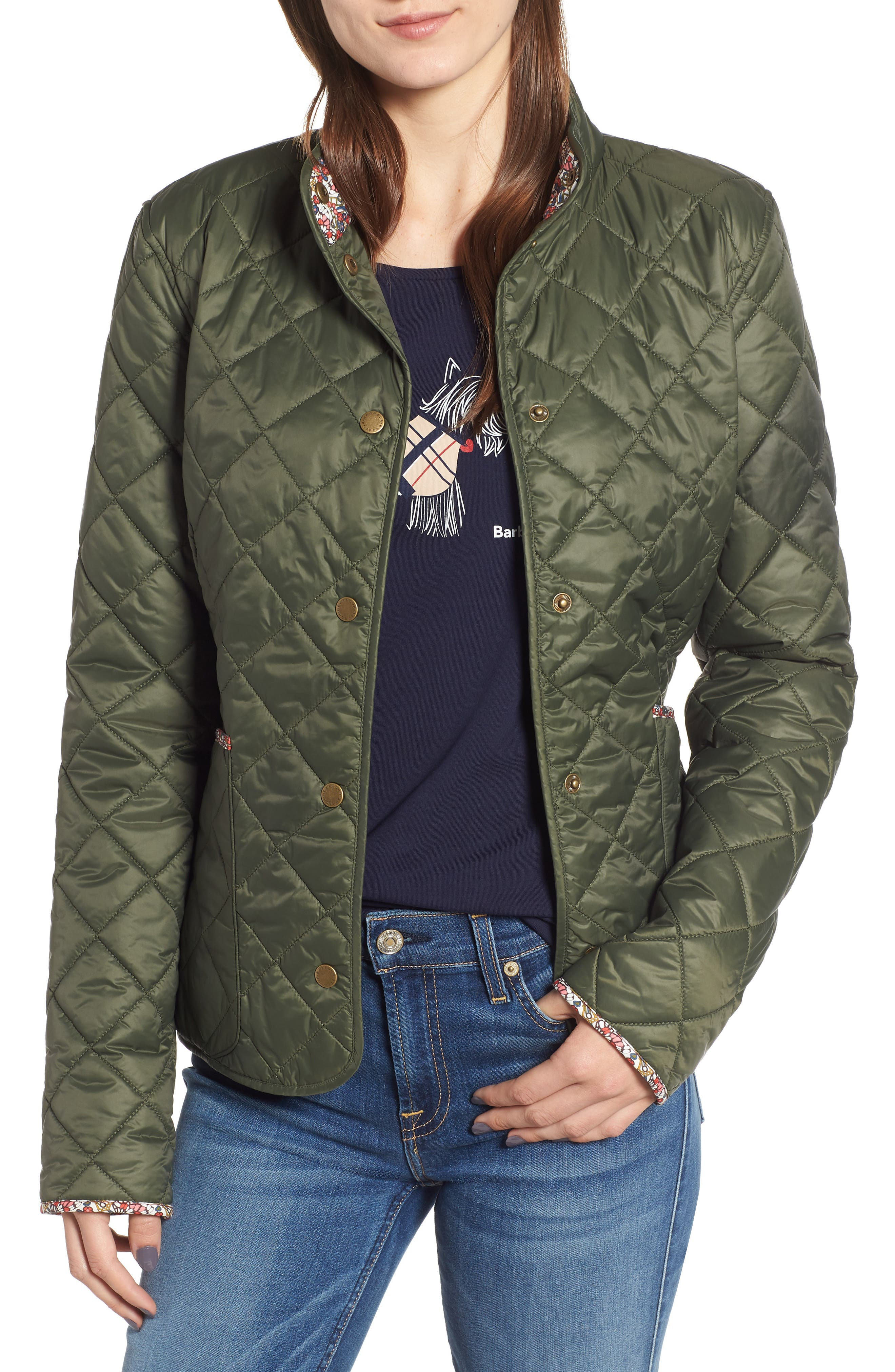 Barbour X Liberty Evelyn Quilted Jacket, US / 12 UK - Green