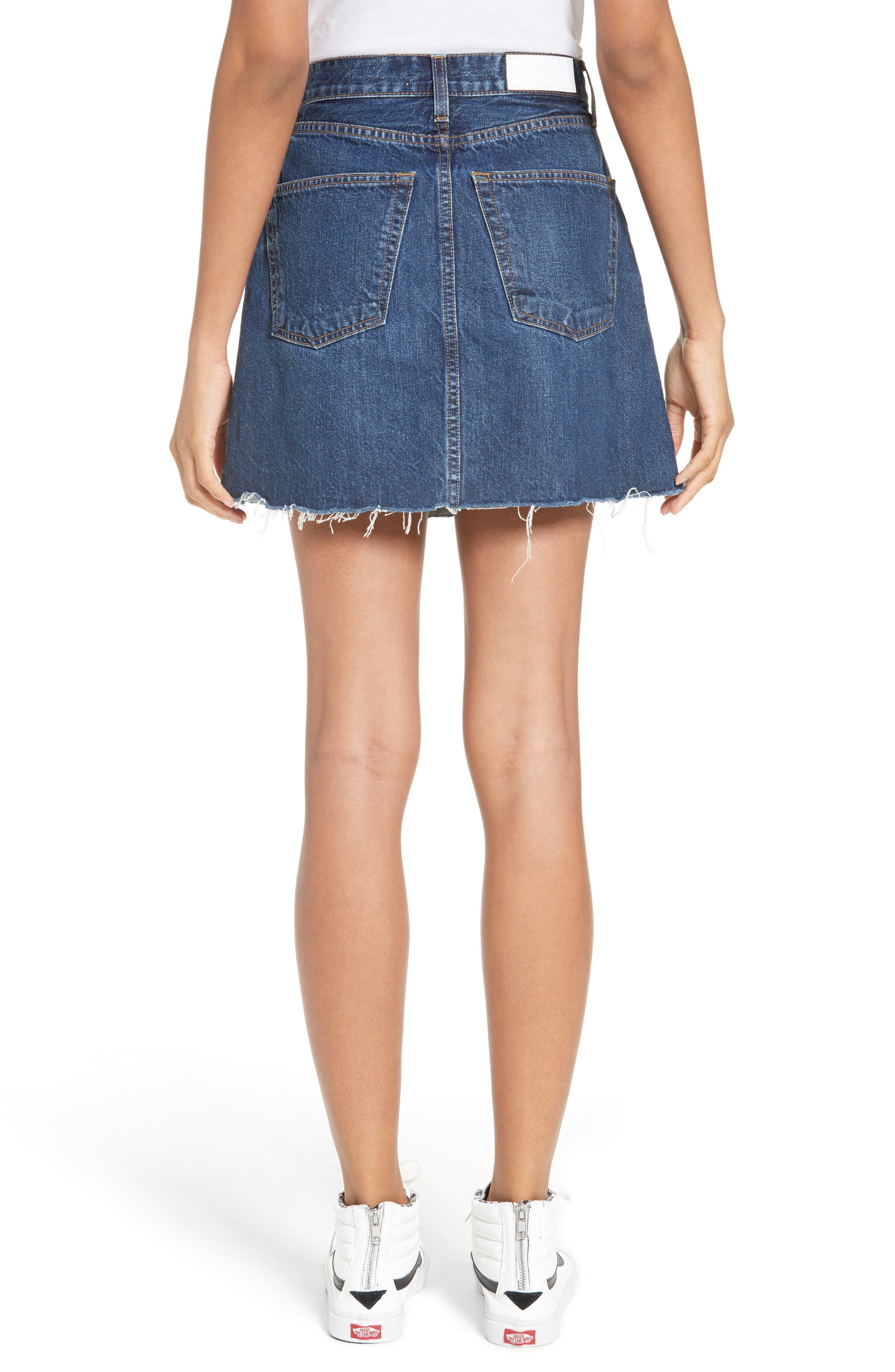 Originals High Waist Denim Miniskirt,                             Alternate thumbnail 2, color,                             401