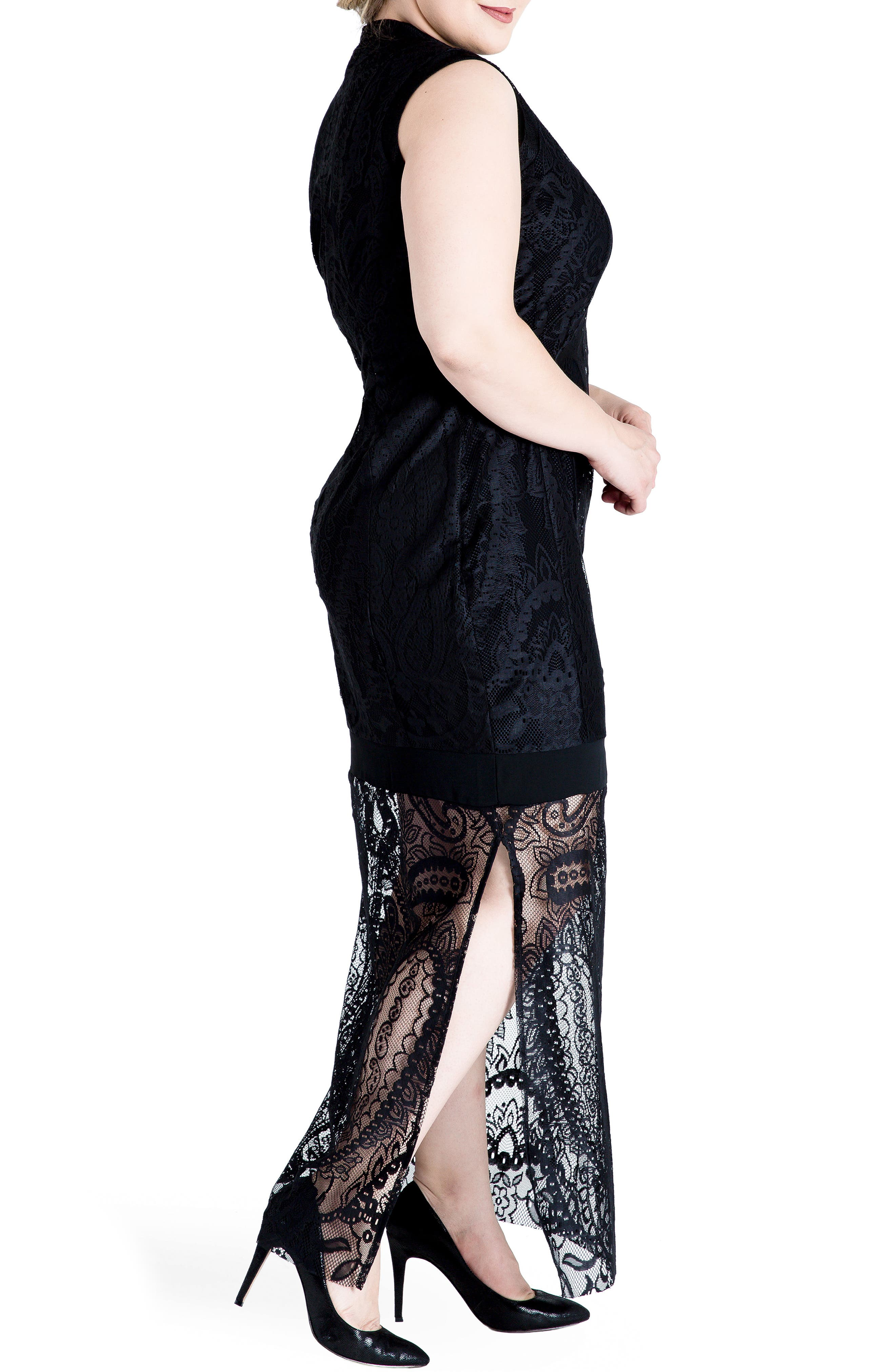 Clover Lace Maxi Dress,                             Alternate thumbnail 3, color,                             001