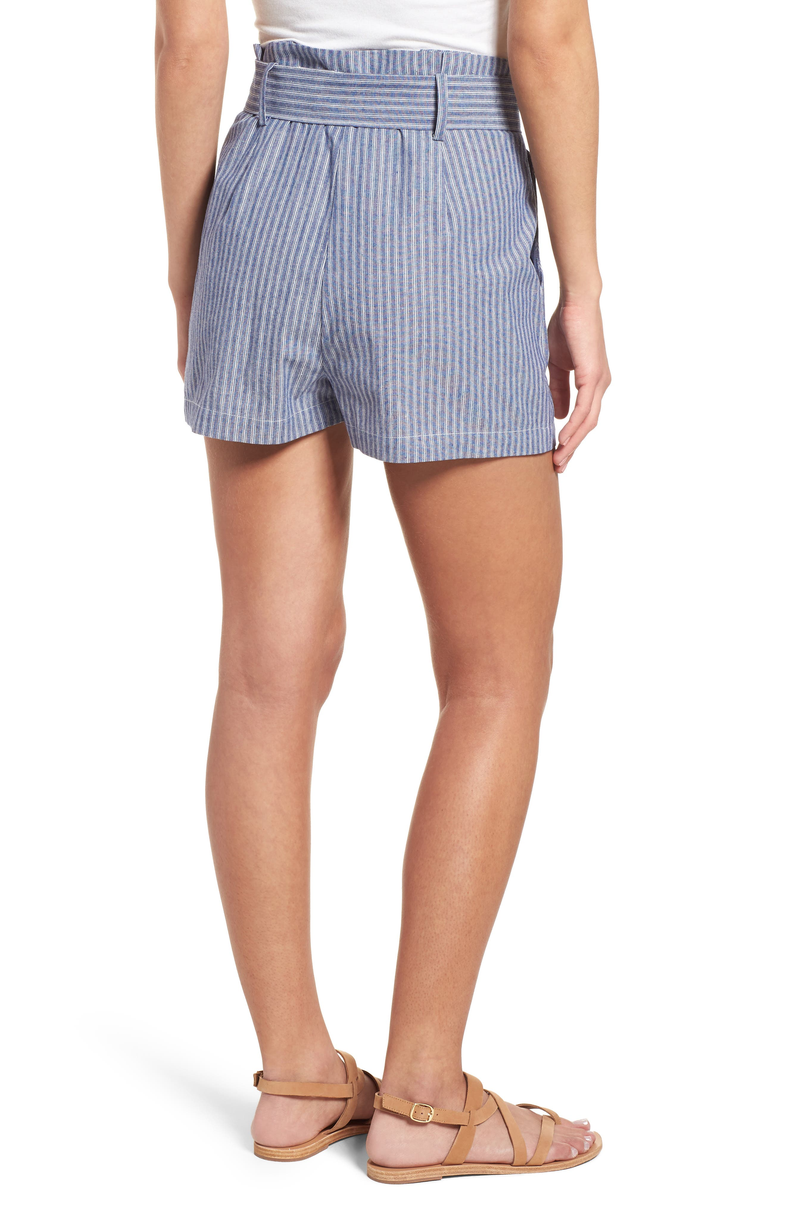 Paperbag Waist Stripe Shorts,                             Alternate thumbnail 2, color,                             461