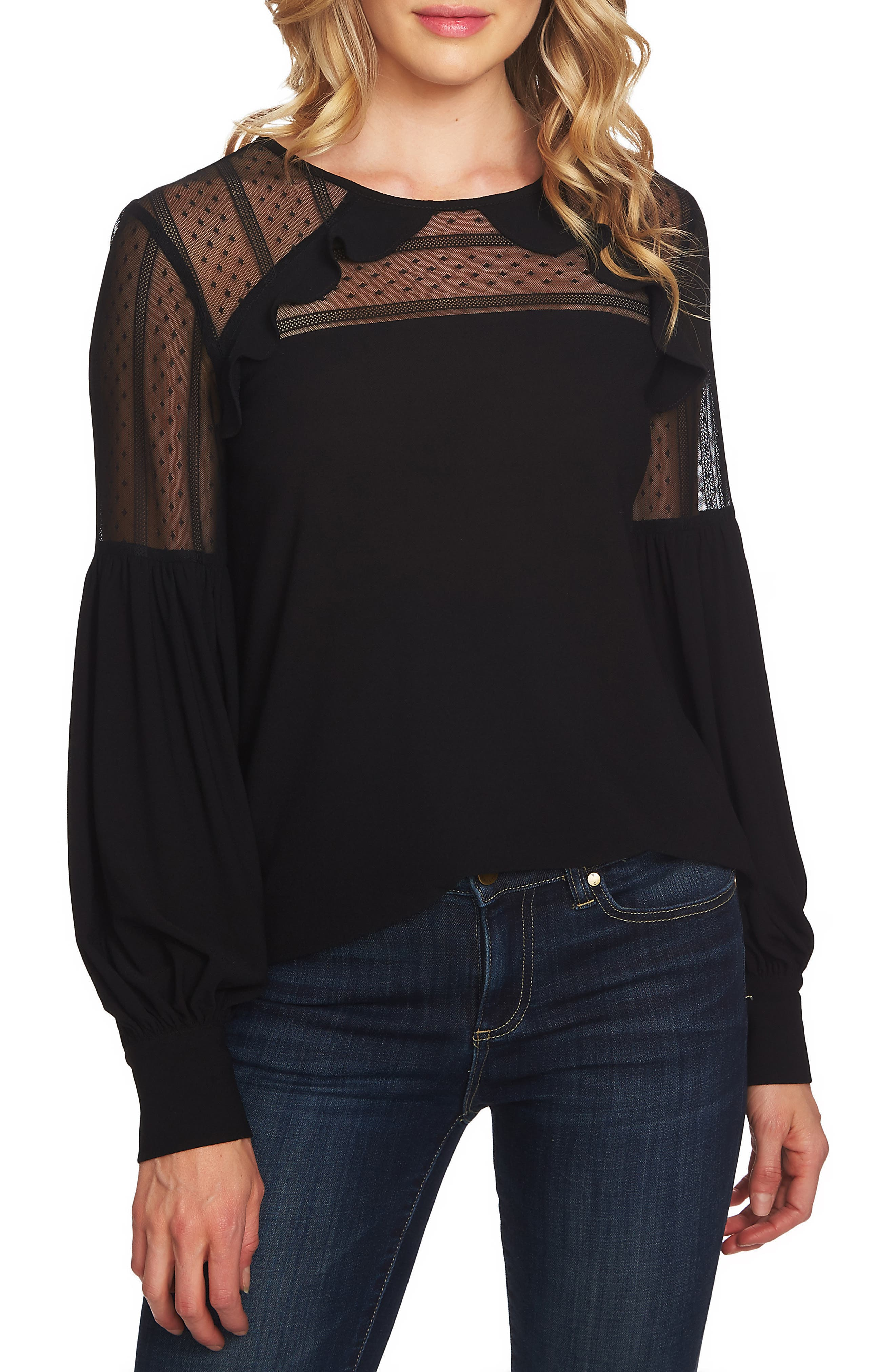 Mixed Media Puff Sleeve Blouse,                         Main,                         color, 001