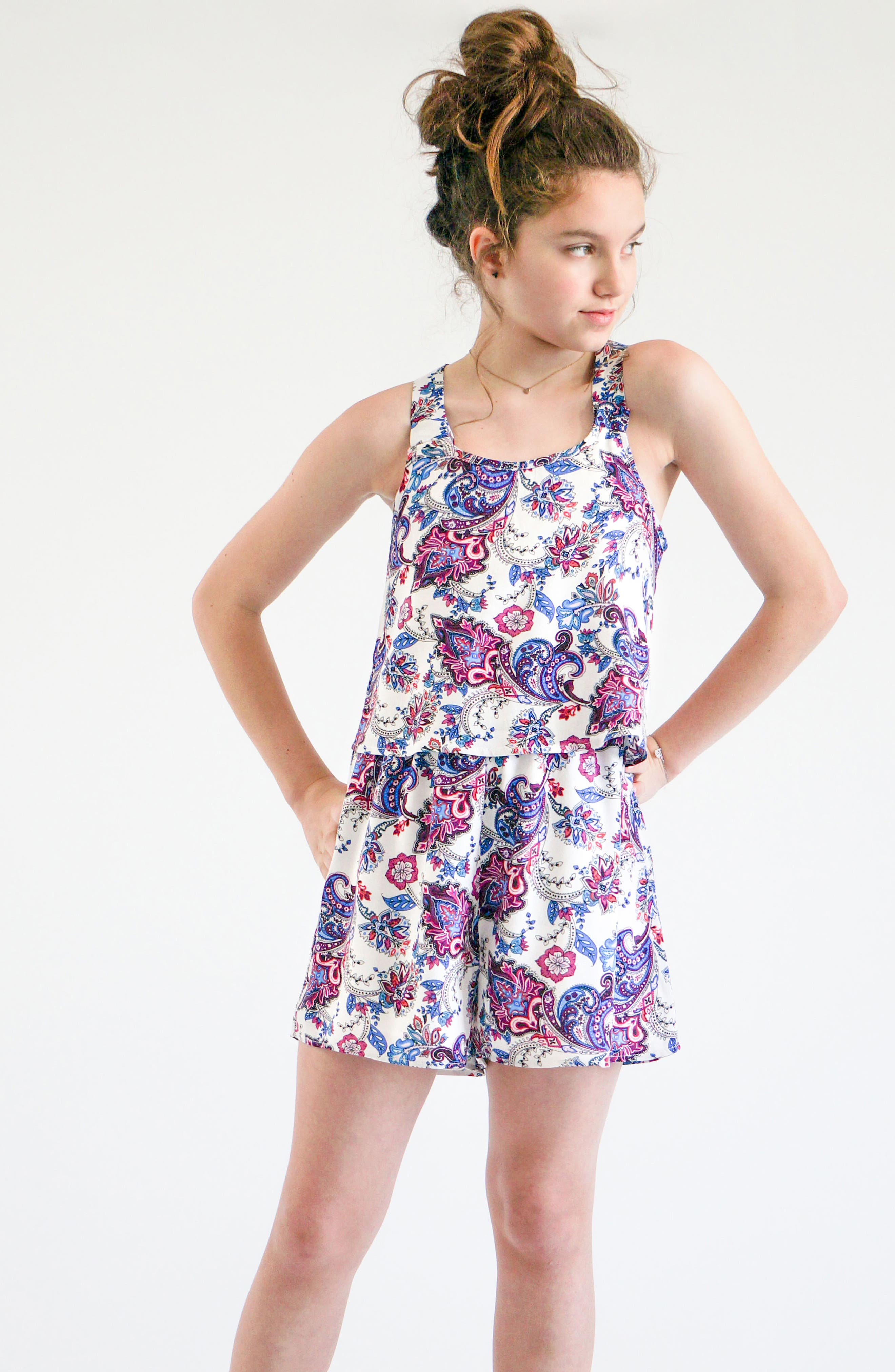 Paisley Print Popover Romper,                             Alternate thumbnail 7, color,                             460