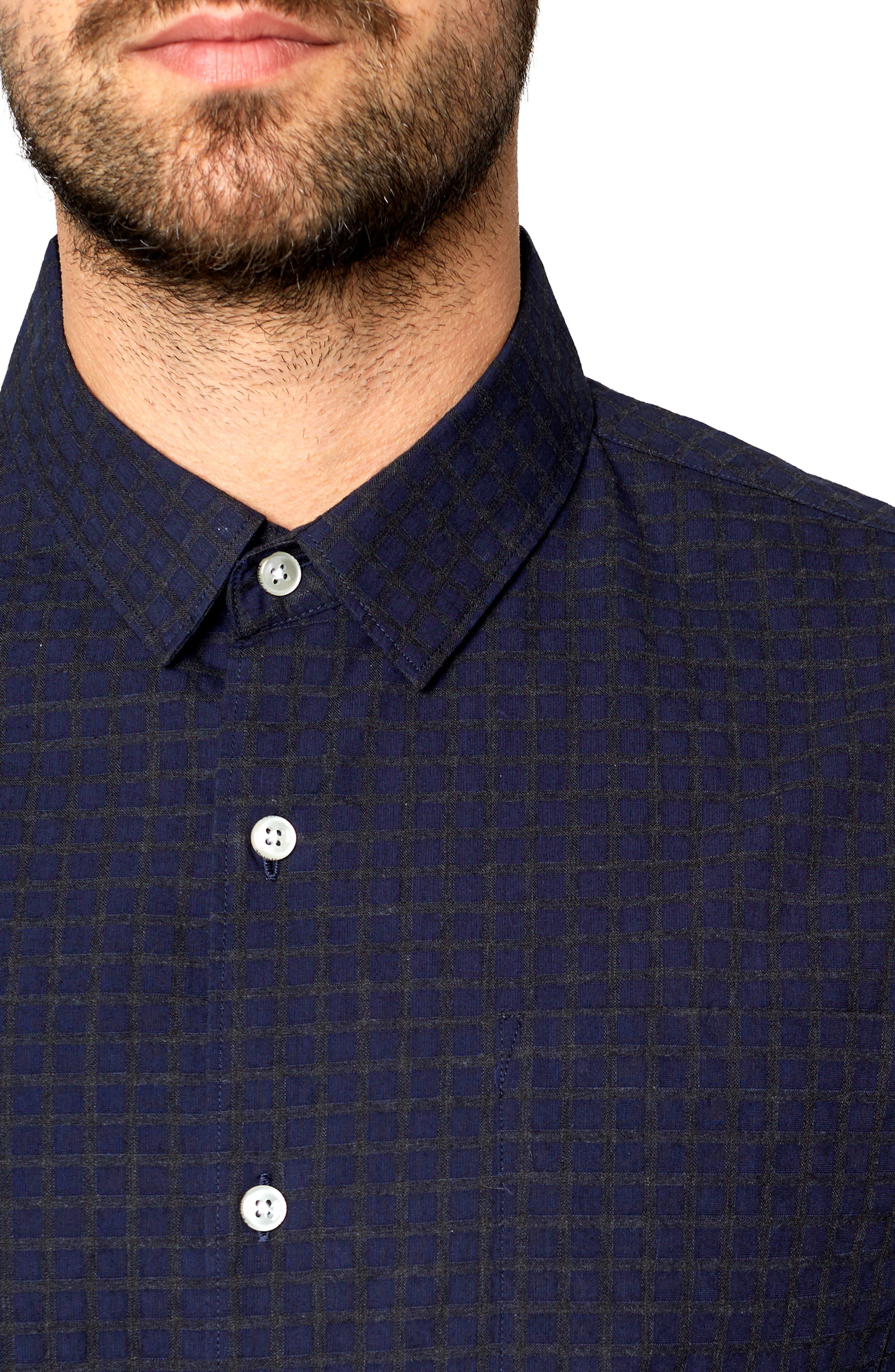 Players Club Trim Fit Linen Blend Sport Shirt,                             Alternate thumbnail 2, color,                             MIDNIGHT